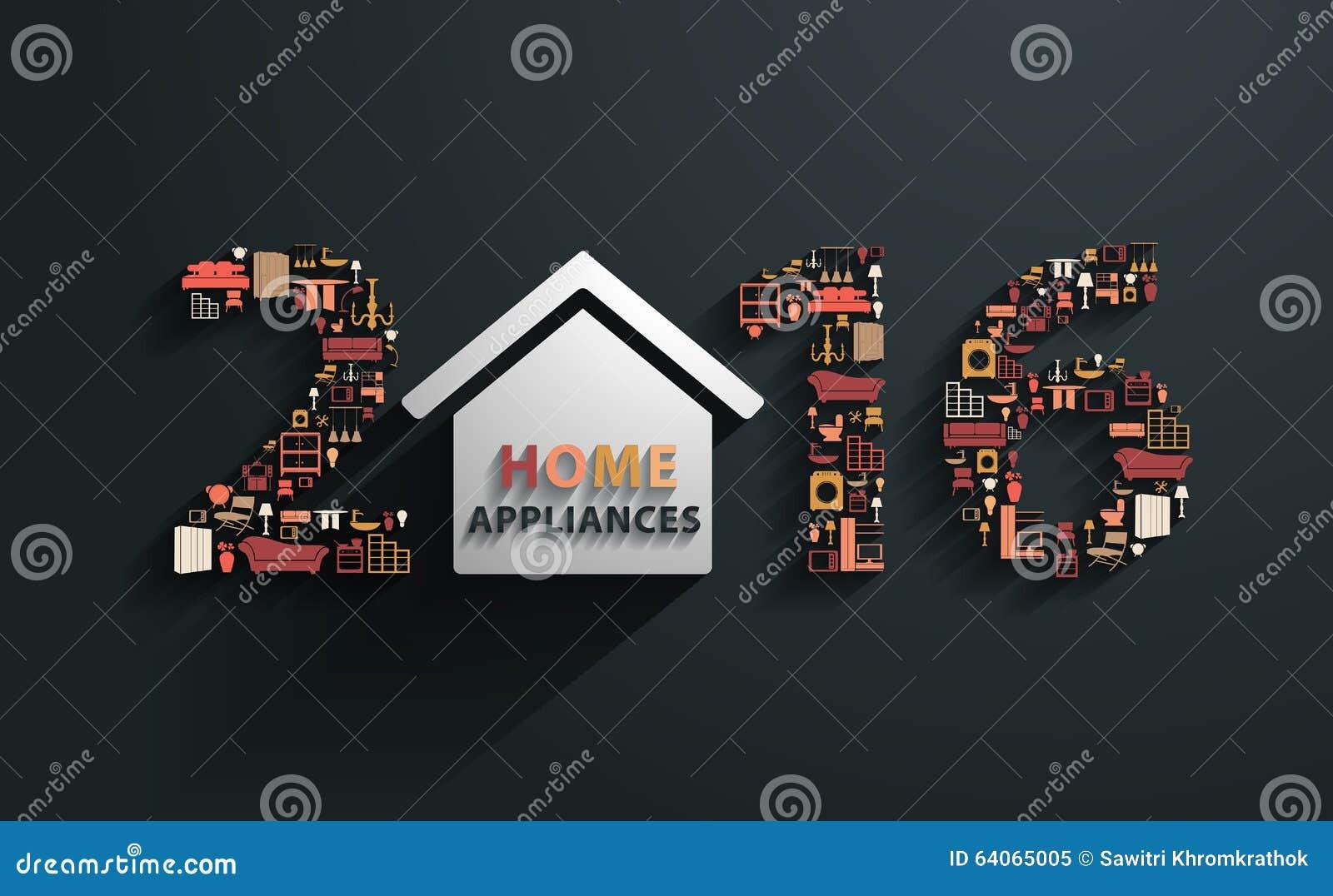 Ano novo do vetor 2016 com ícones lisos dos aparelhos eletrodomésticos do projeto
