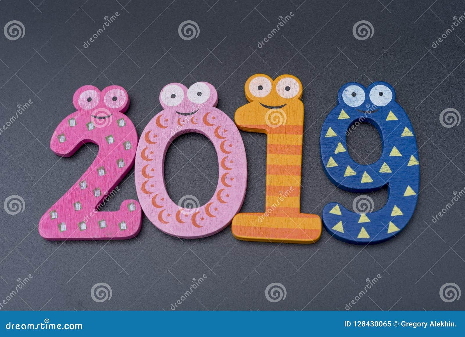 Ano novo dois mil dezenove, números brancos em um fundo preto