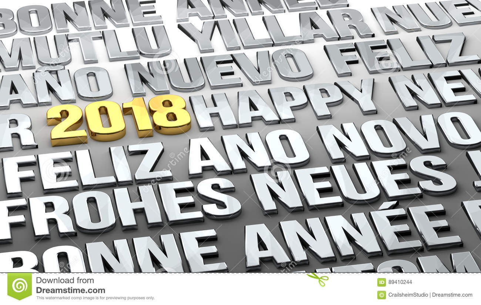 Ano novo dourado de Sylvester 2018 multilingue