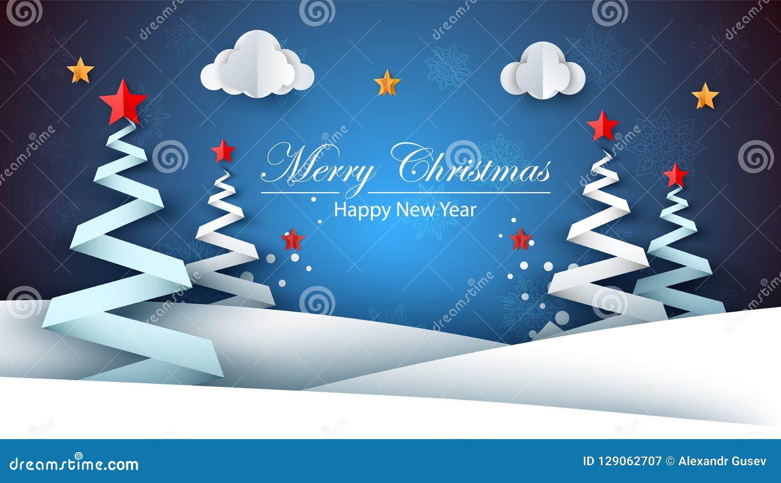 Ano Novo Feliz De Papel Dos Desenhos Animados Feliz Natal