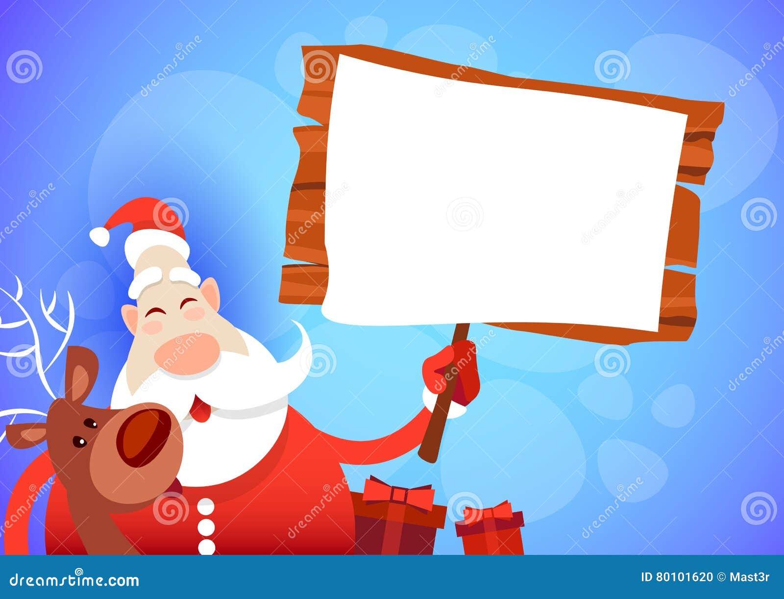 Ano novo feliz do cartão do Feliz Natal da placa de Santa Claus Hold Big Empty Sign