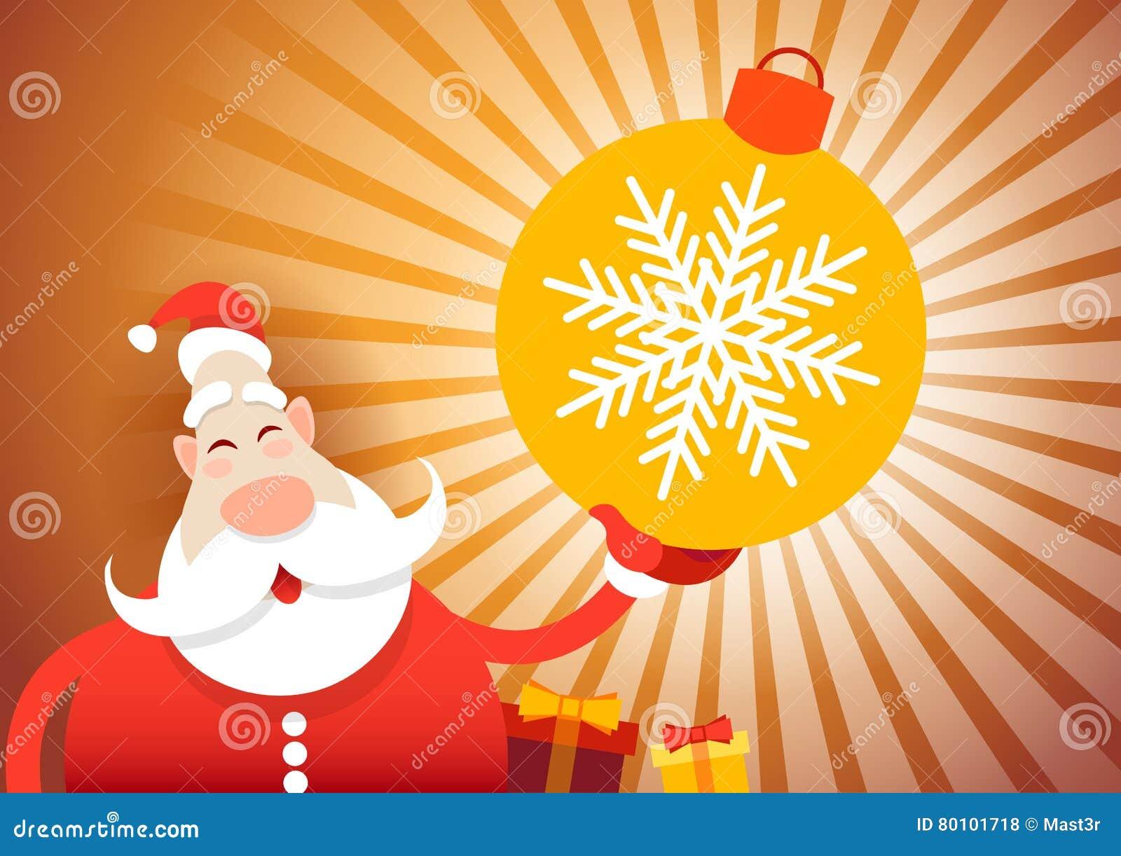 Ano novo feliz do cartão do Feliz Natal de Santa Claus Hold Big Decoration Ball