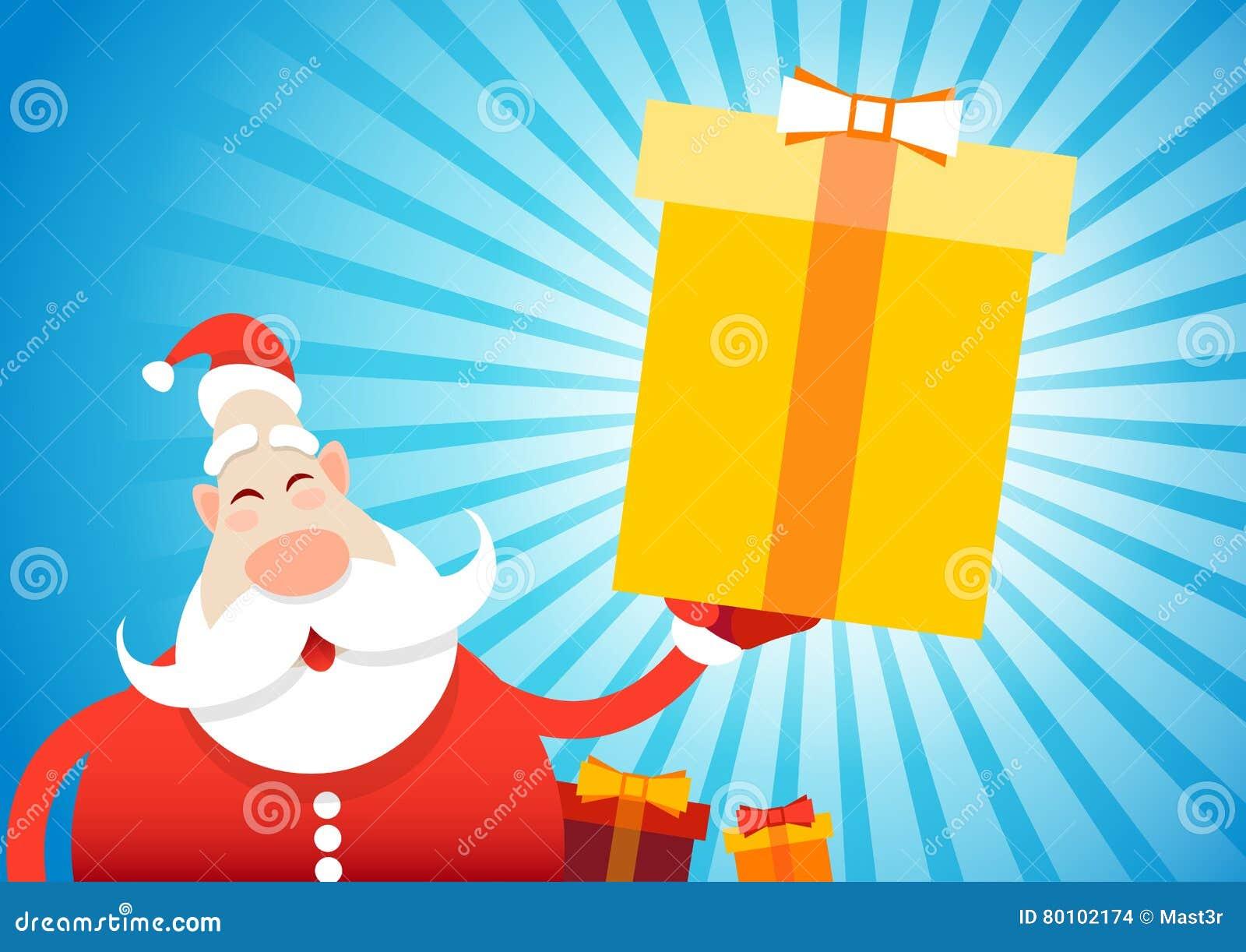 Ano novo feliz do cartão do Feliz Natal de Santa Claus Hold Big Present Box