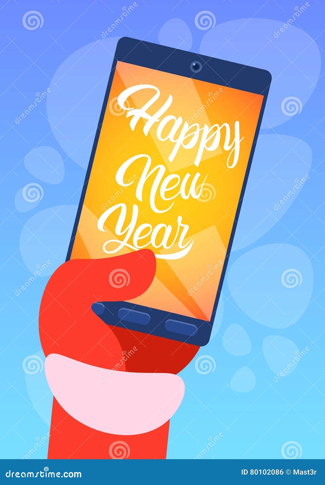 Ano novo feliz do cartão do Feliz Natal do telefone de Santa Claus Hand Hold Cell Smart