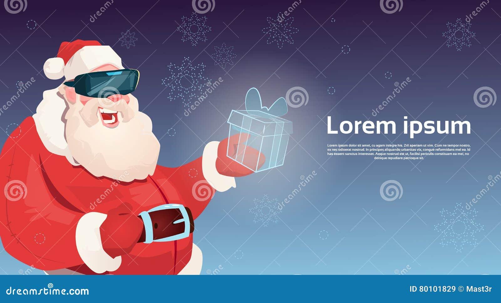 Ano novo feliz do Feliz Natal da caixa do presente da realidade virtual de Santa Claus Wear Digital Glasses Hold