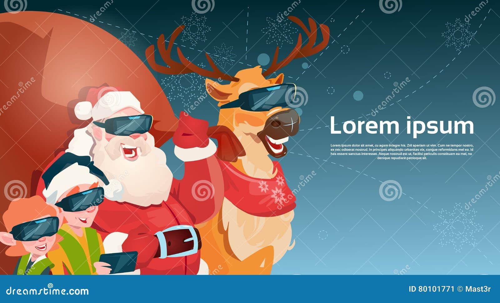Ano novo feliz do Feliz Natal da realidade virtual dos vidros de Digitas do desgaste de Santa Clause Reindeer Elf Group