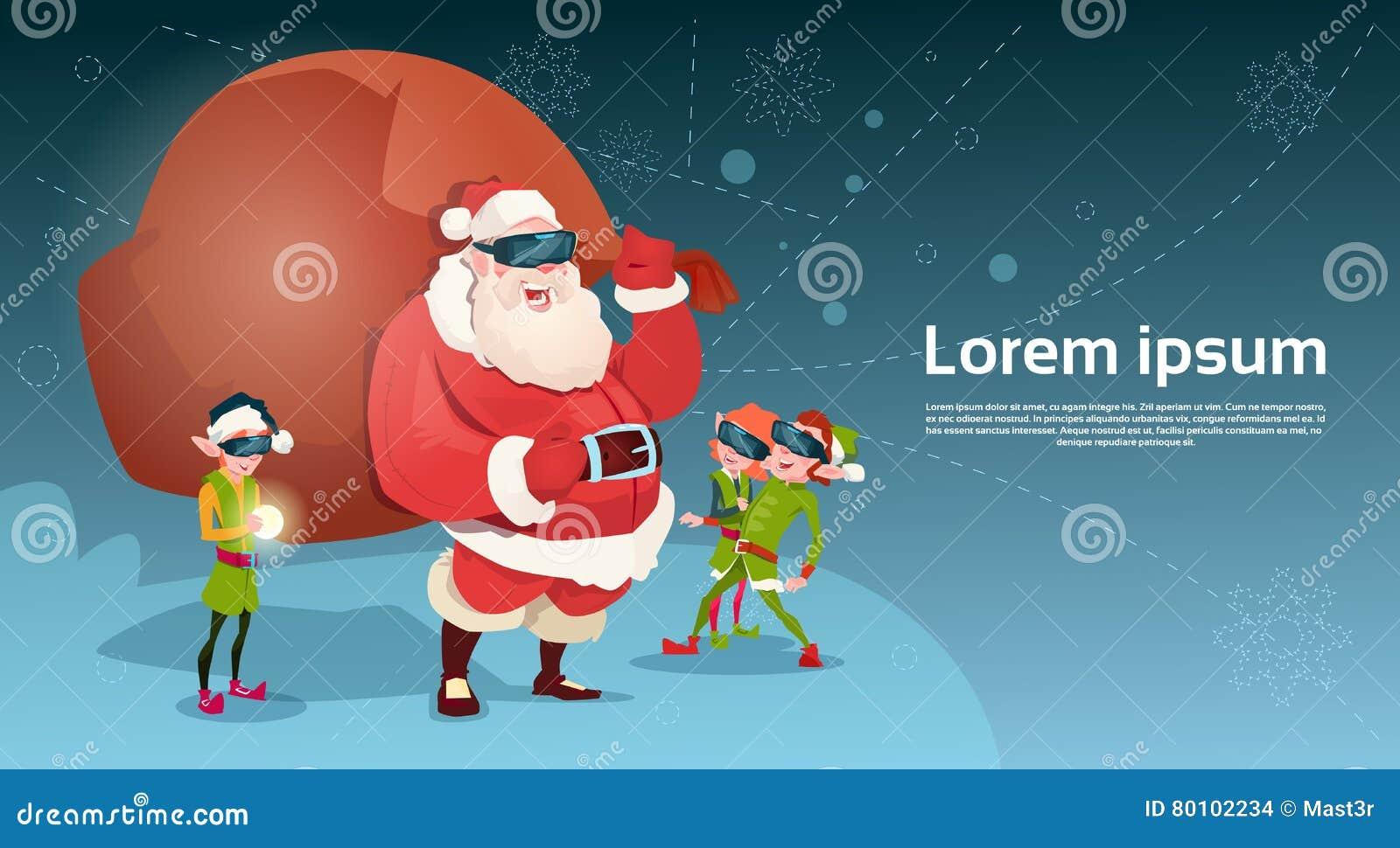 Ano novo feliz do Feliz Natal da realidade virtual dos vidros de Digitas do desgaste do grupo de Santa Clause And Green Elf