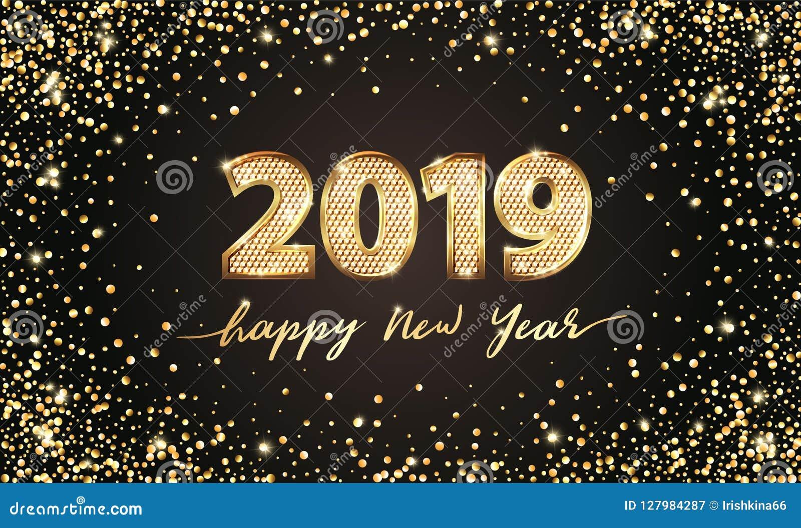 Ano novo feliz do texto 2019 luxuosos dourados do vetor Projeto festivo dos números do ouro Confetes do brilho do ouro Dígitos da