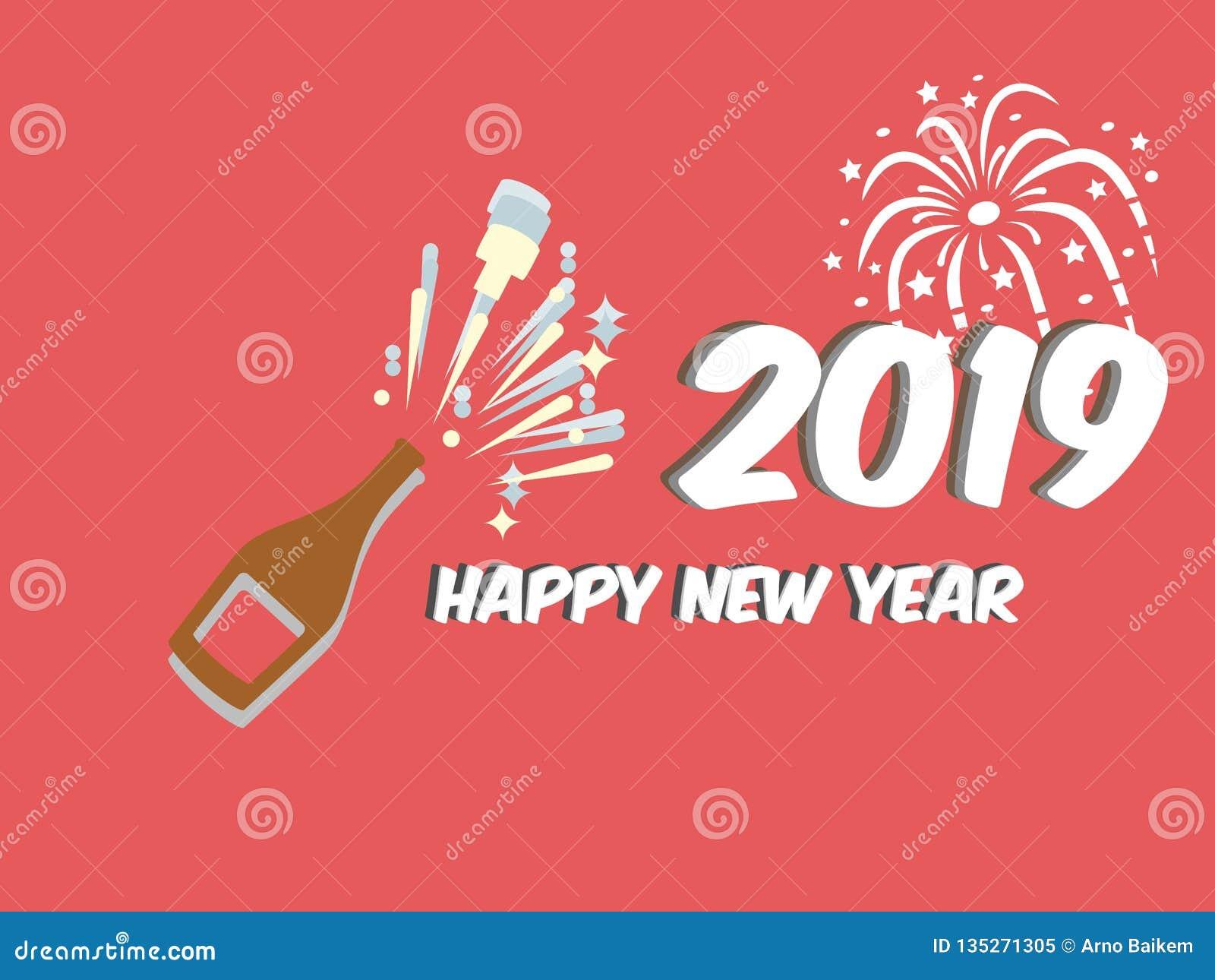 Ano novo feliz, a melhor coisa em um fundo vermelho da garrafa