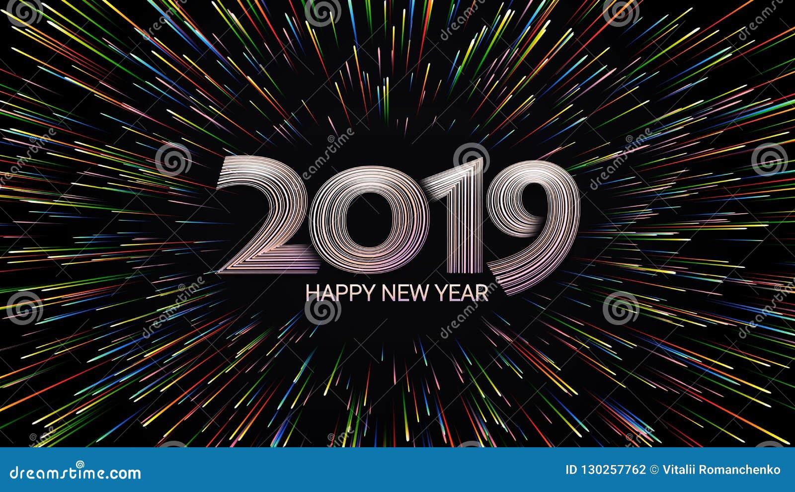 Ano novo feliz 2019 Natal Fogos-de-artifício da cor Composição abstrata sob a forma da luz solar