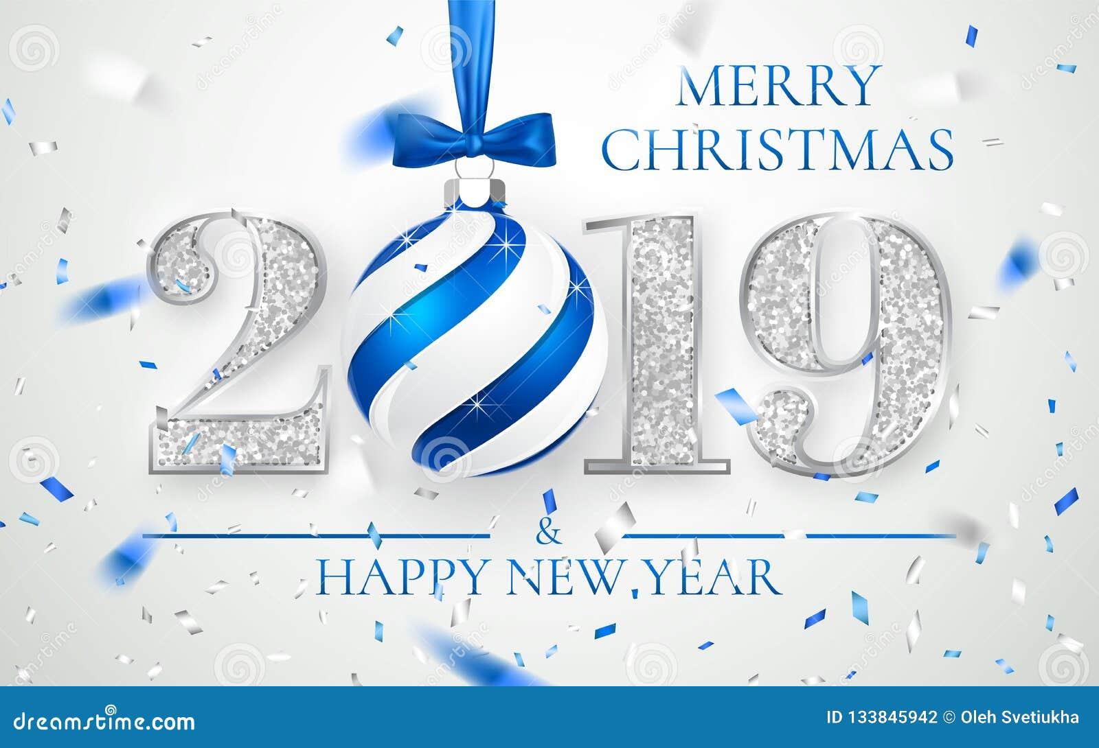 Ano novo feliz 2019, projeto de prata dos números do cartão, confete brilhante de queda, bola do Xmas com curva azul, ilustração