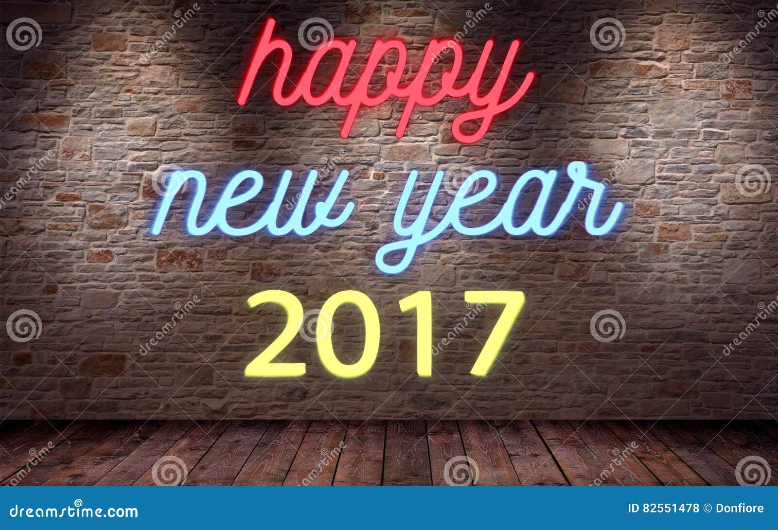 Ano novo feliz 2017, sinal de néon de cintilação piscar na parede de tijolo e fundo da madeira