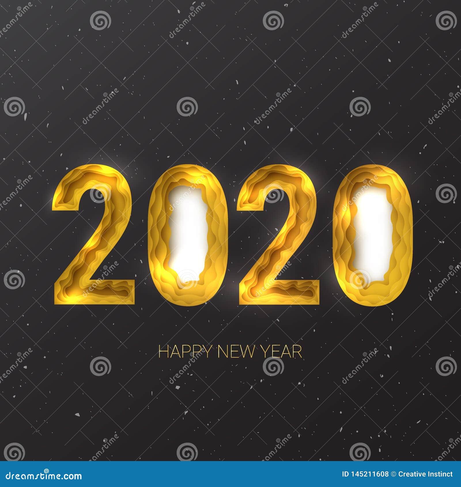 Ano novo feliz 2020 Vetor criativo eps 10 do corte do papel do sum?rio 3d