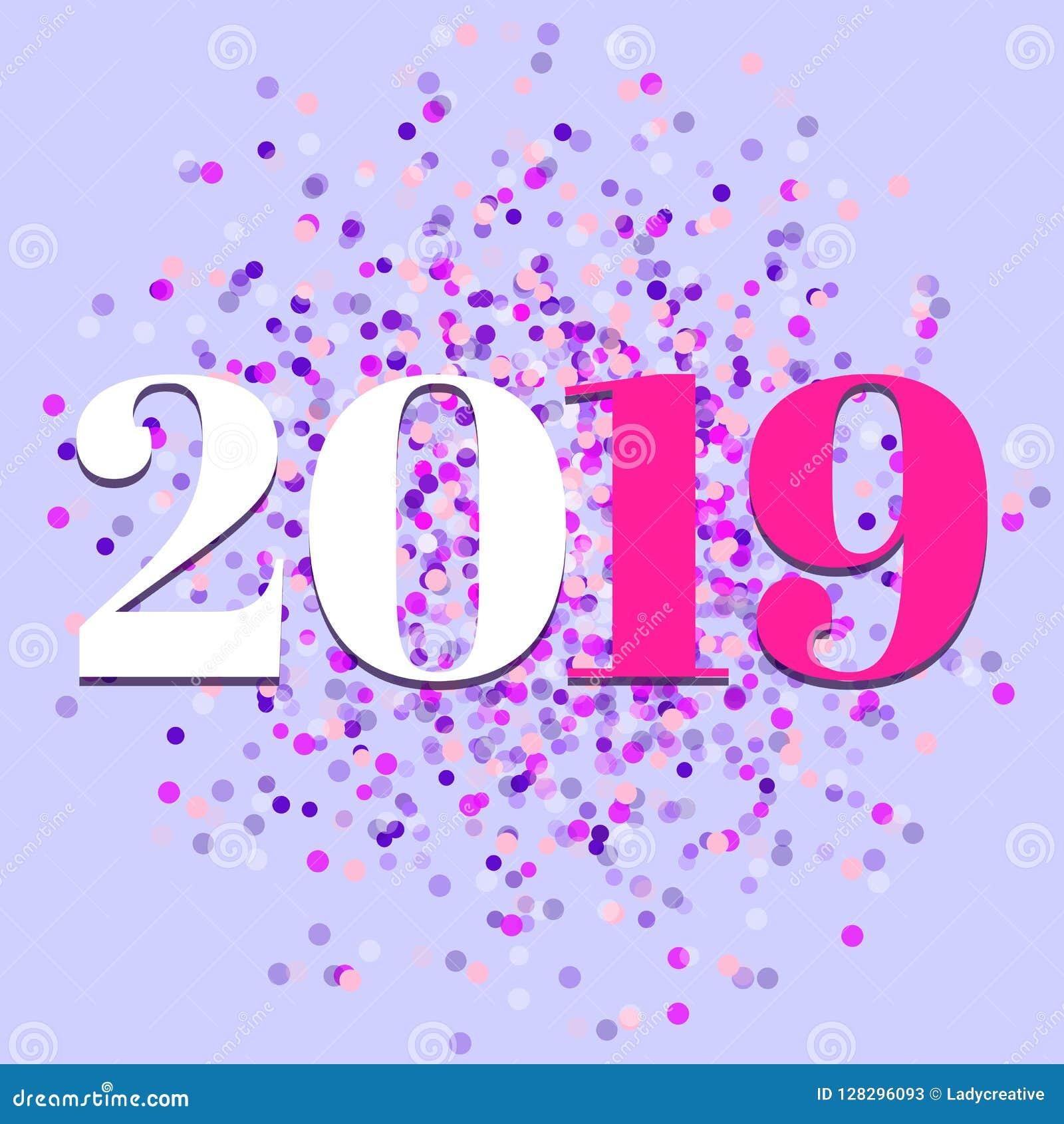 2019, ano novo, vetor colorido dos confetes