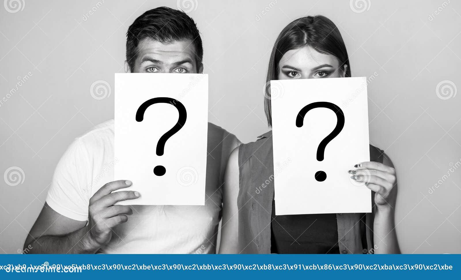 Anonieme, man en vrouwenvraag Problemen en oplossingen Het krijgen van antwoorden Portret van het document van de paarholding vra
