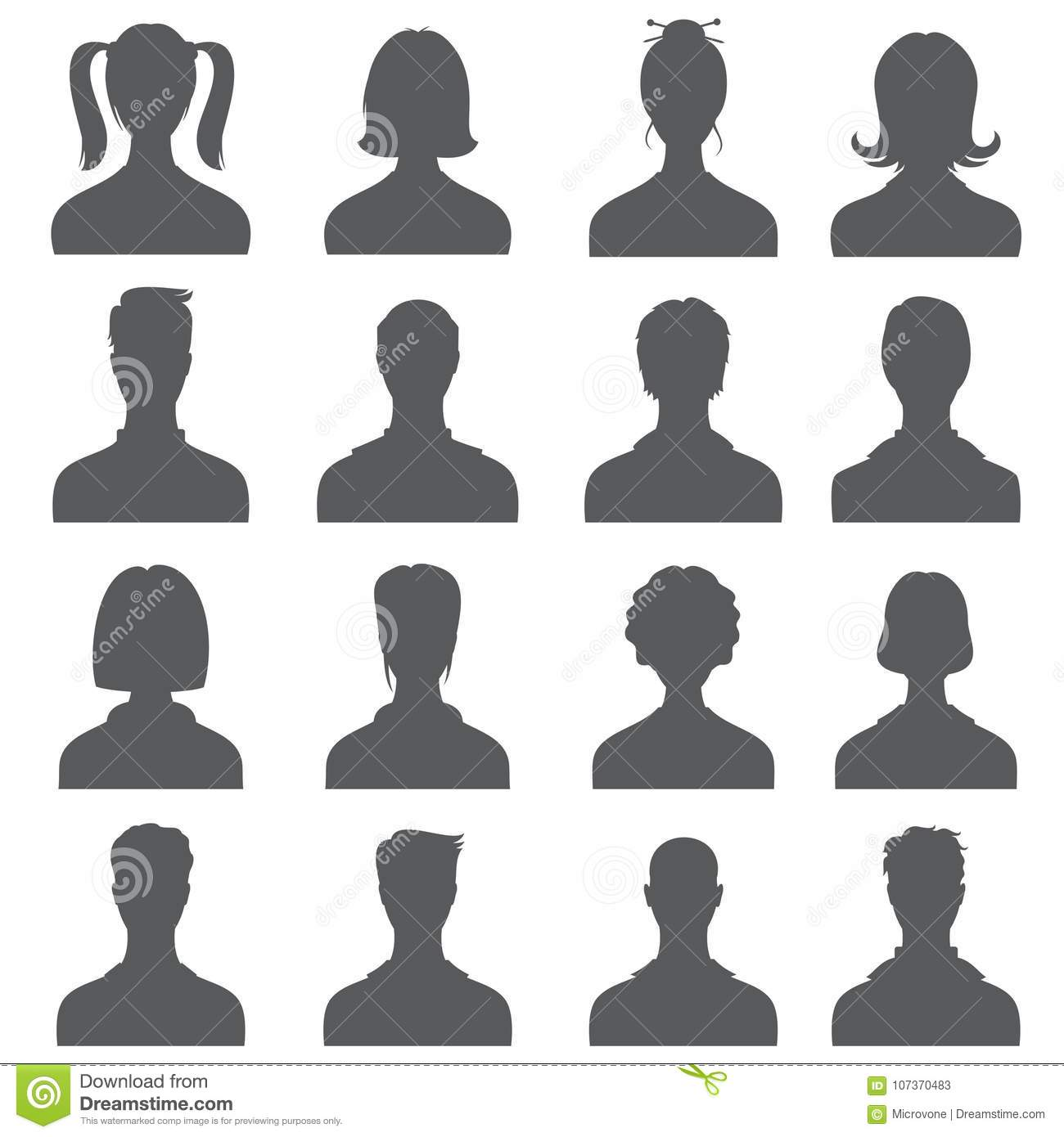 anonymous face people heads vector silhouettes monochrome business
