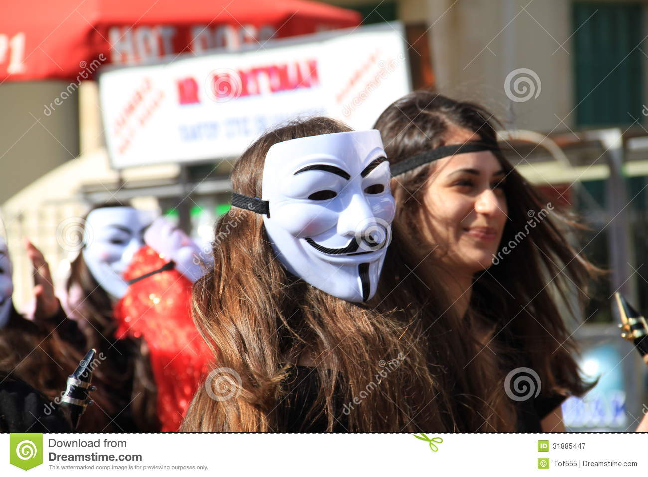 Anonymous Mask Carnival In Paphos Editorial Photography