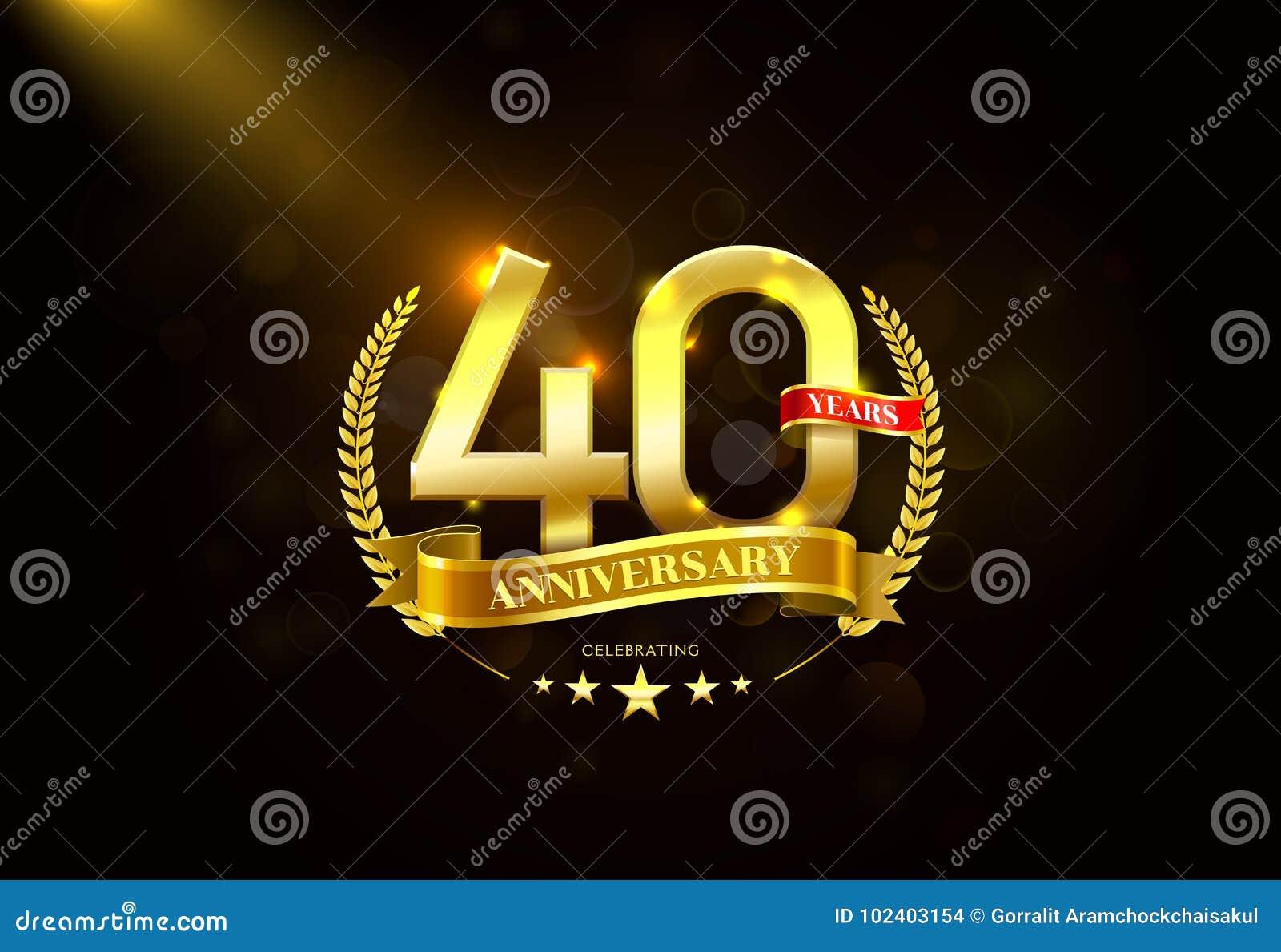 40 anos de aniversário com a fita dourada da grinalda do louro