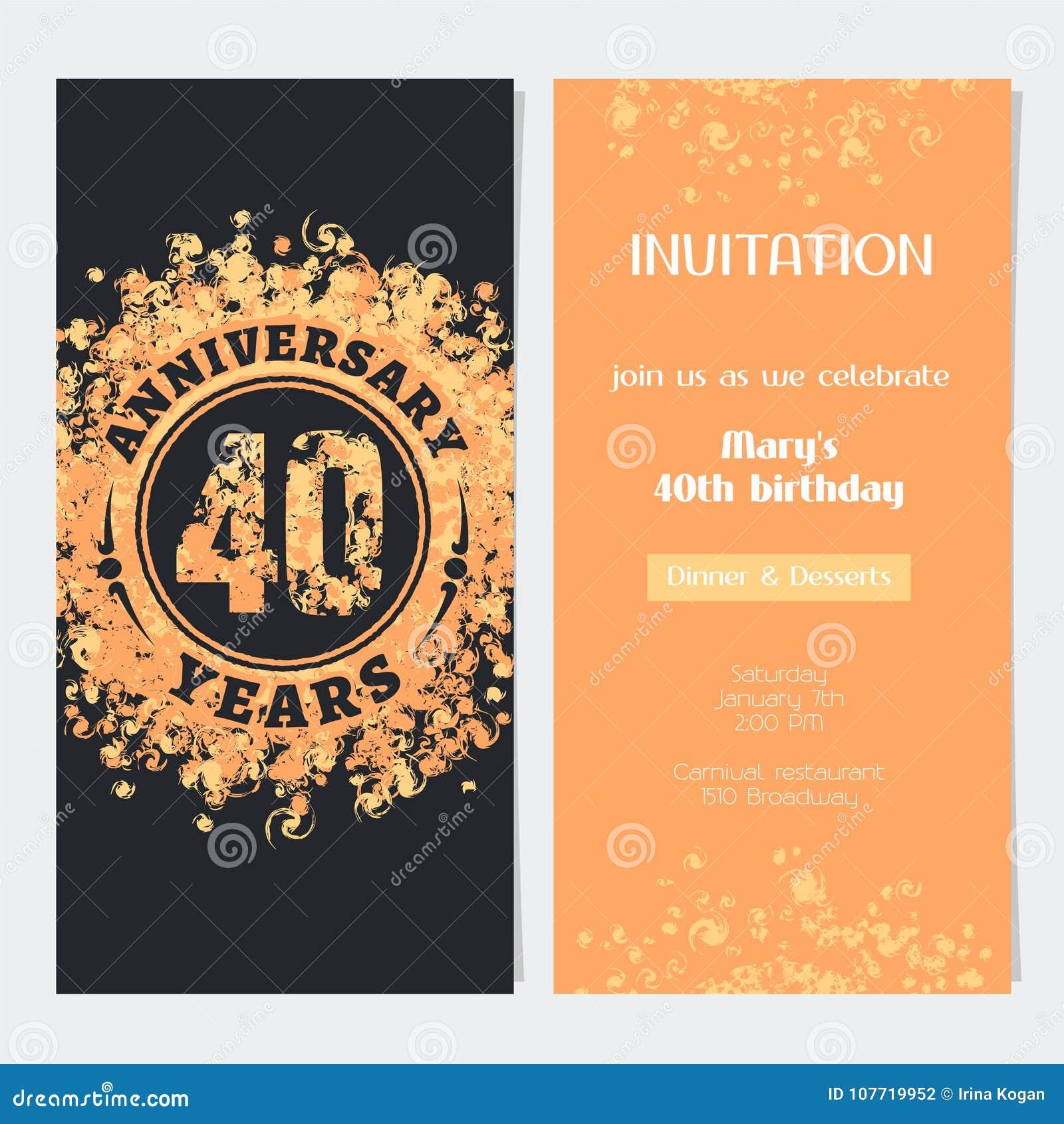 40 Anos De Convite Do Aniversário à Ilustração Do Vetor Do Evento Da