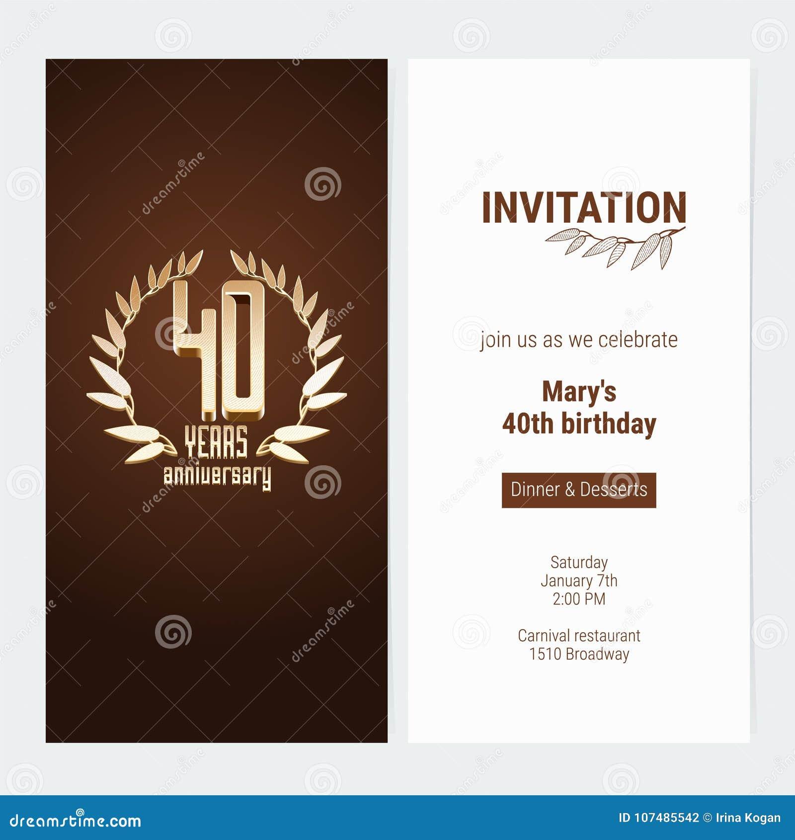 40 Anos De Convite Do Aniversário Comemorar A Ilustração Do Vetor Do