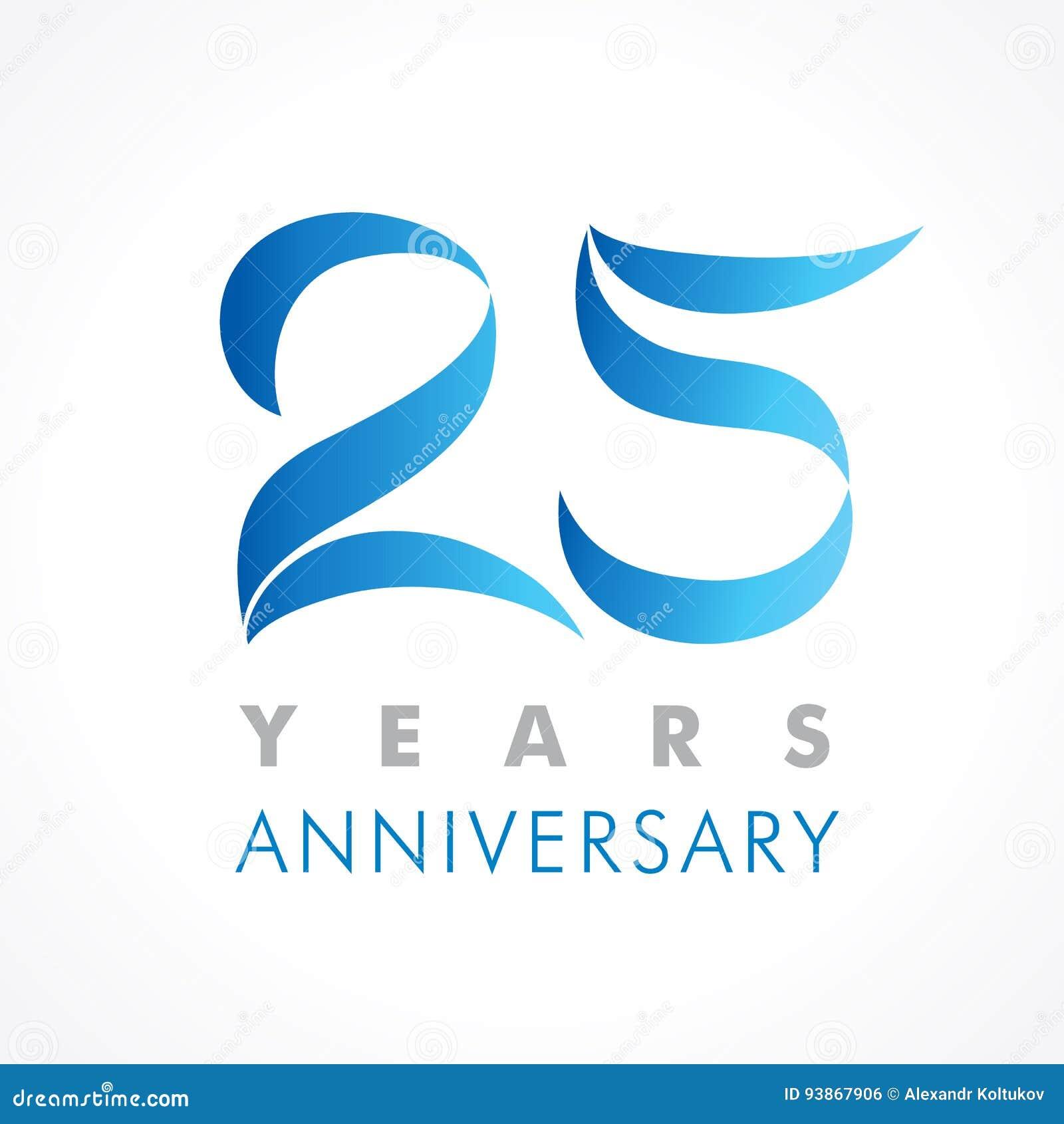25 anos de logotipo clássico de comemoração velho