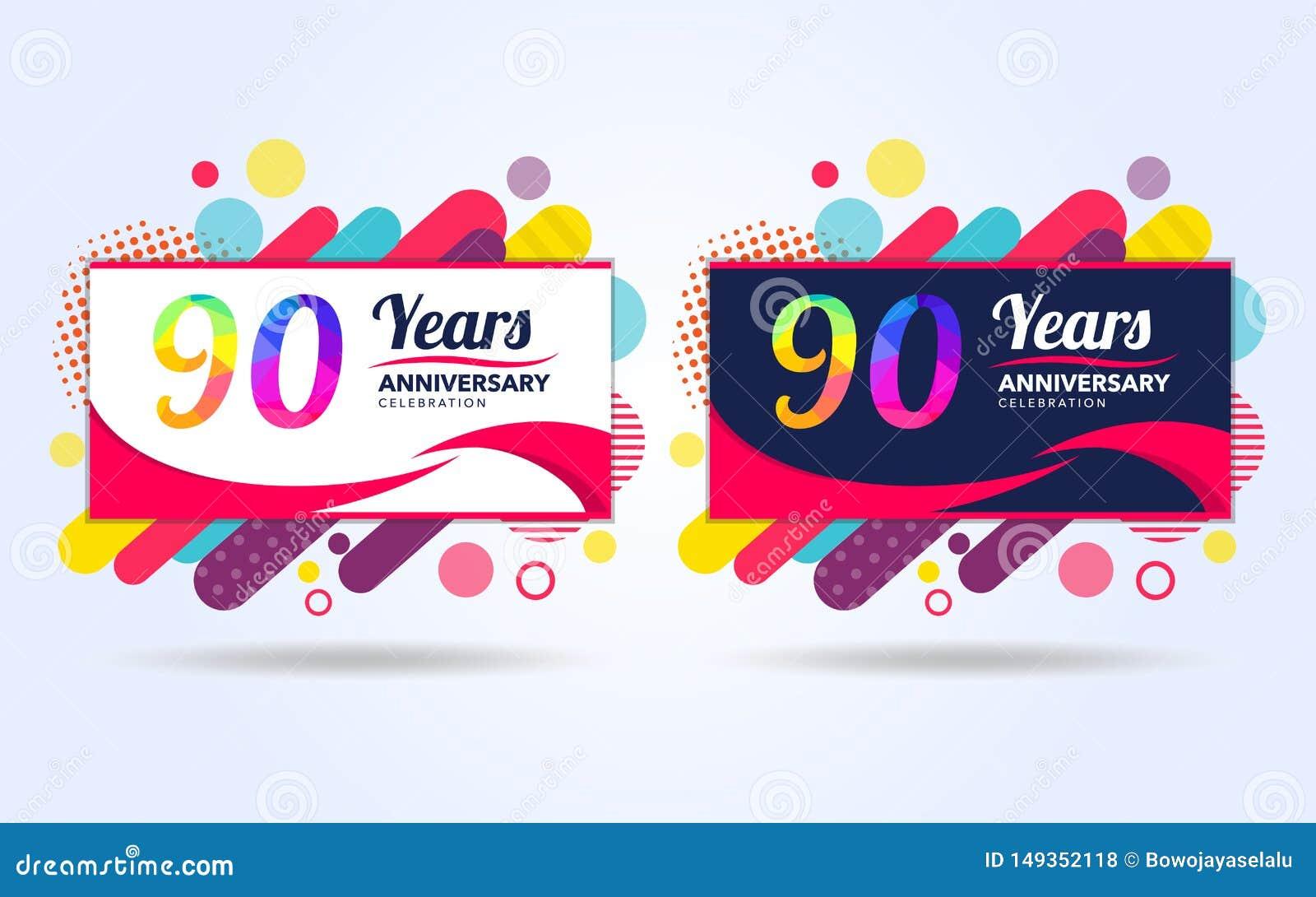 90 anos estalam elementos do projeto moderno do aniversário, edição colorida, projeto do molde da celebração, projeto do molde da