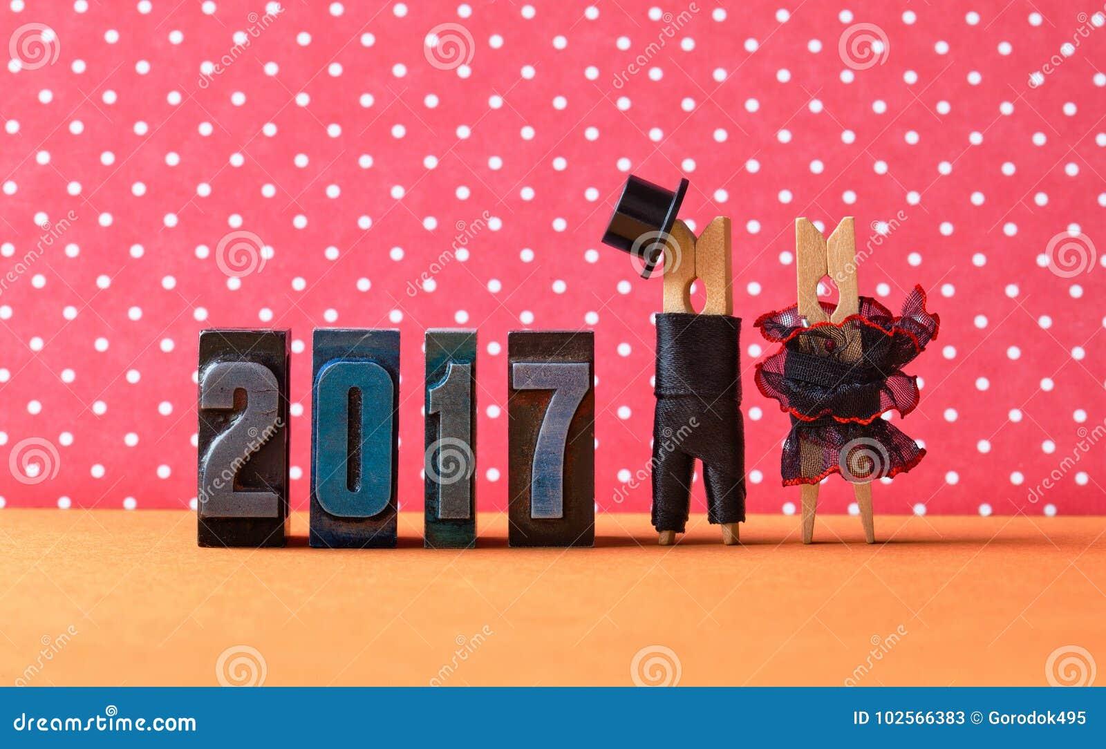 2017 anos no cartaz do partido do amor Prepare o chapéu preto do terno, vestido vermelho preto da noiva Caráteres dos pregadores
