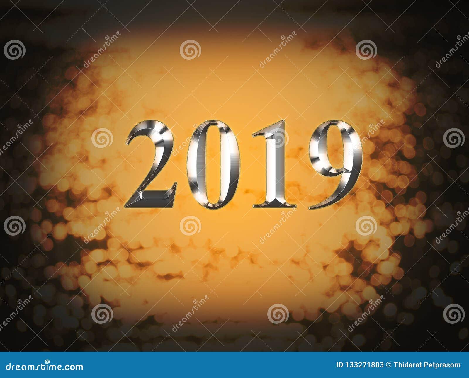 2019 anos novos de prata luxuoso no fundo do bokeh do ouro Ano novo feliz 2019