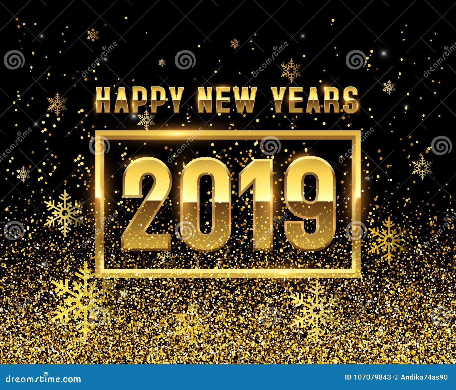Anos novos do OURO 2019 no fundo preto