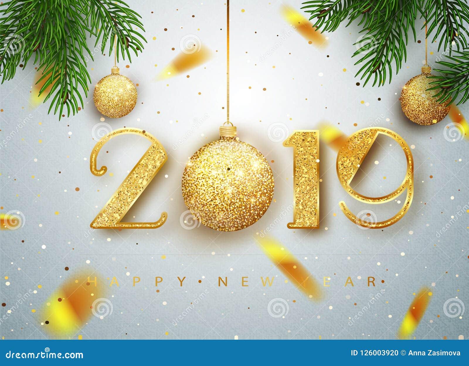 2019 anos novos felizes Projeto dos números do ouro do cartão de confetes brilhantes de queda Teste padrão de brilho do ouro … Ce