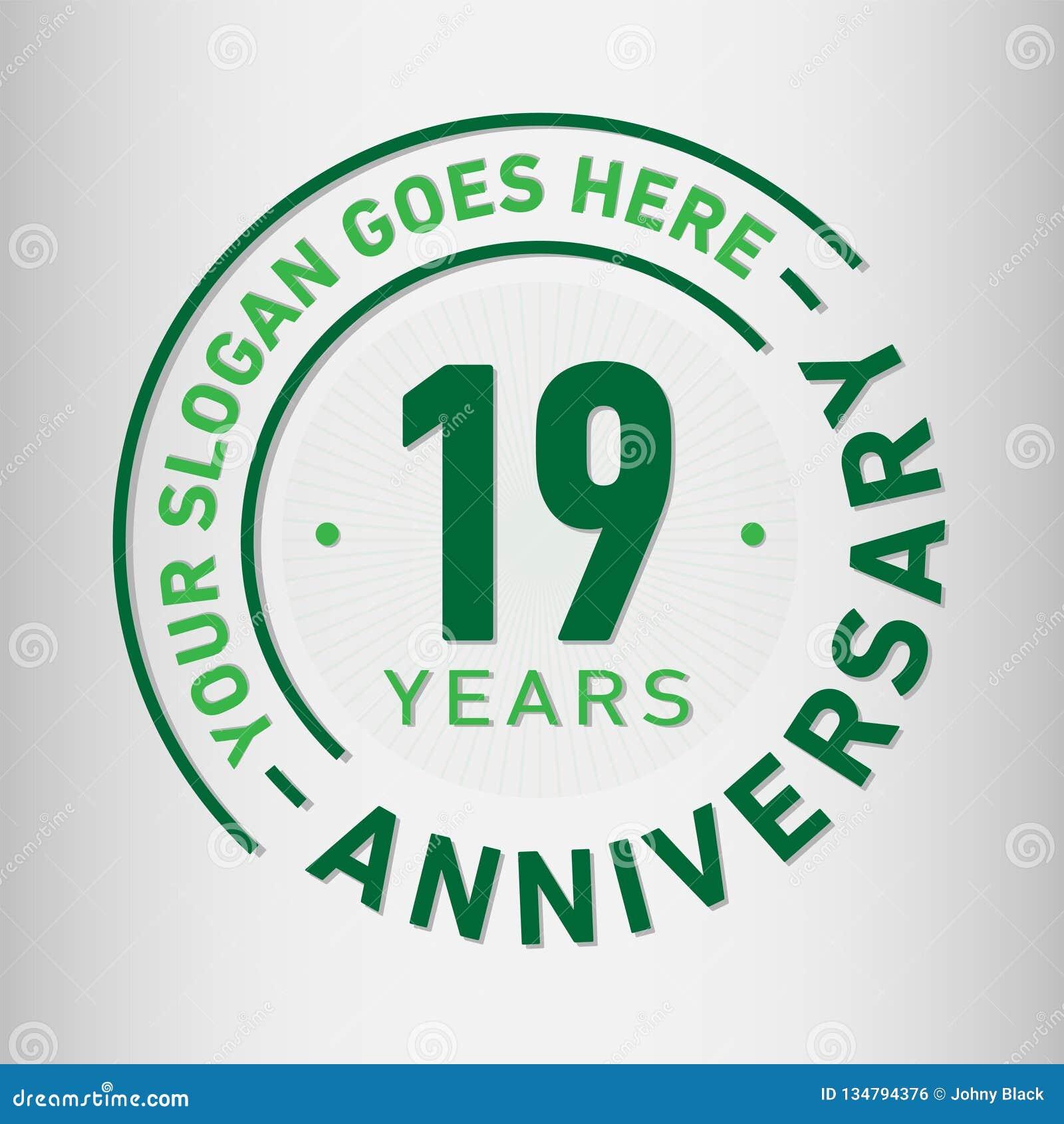19 ans d anniversaire de célébration de calibre de conception Vecteur et illustration d anniversaire Dix-neuf ans de logo