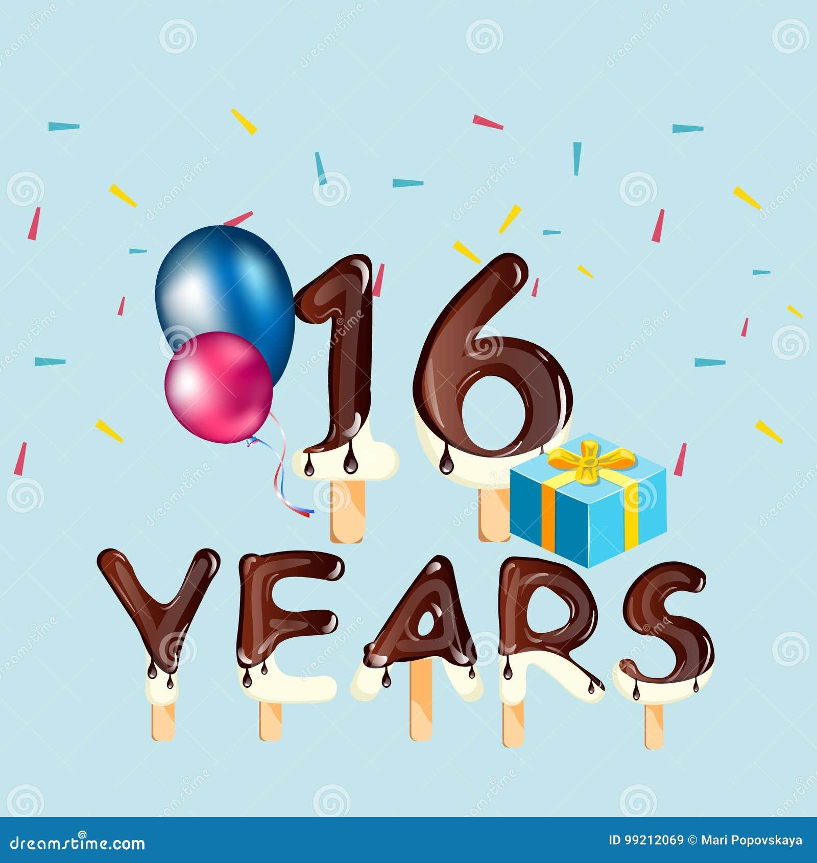 16 Ans D Anniversaire De Celebration De Carte De Voeux Illustration De Vecteur Illustration Du Celebration Carte 99212069