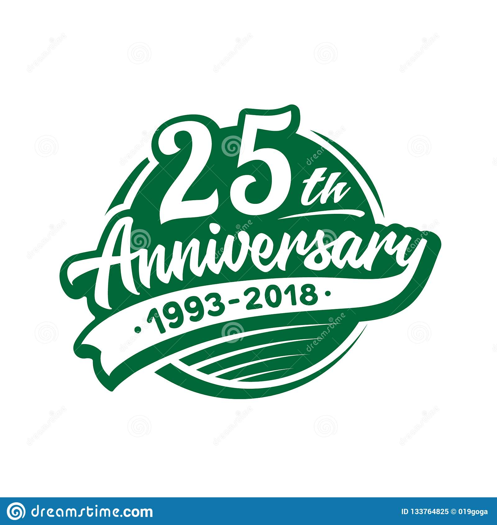 25 ans d anniversaire de calibre de conception Vecteur et illustration 25ème logo