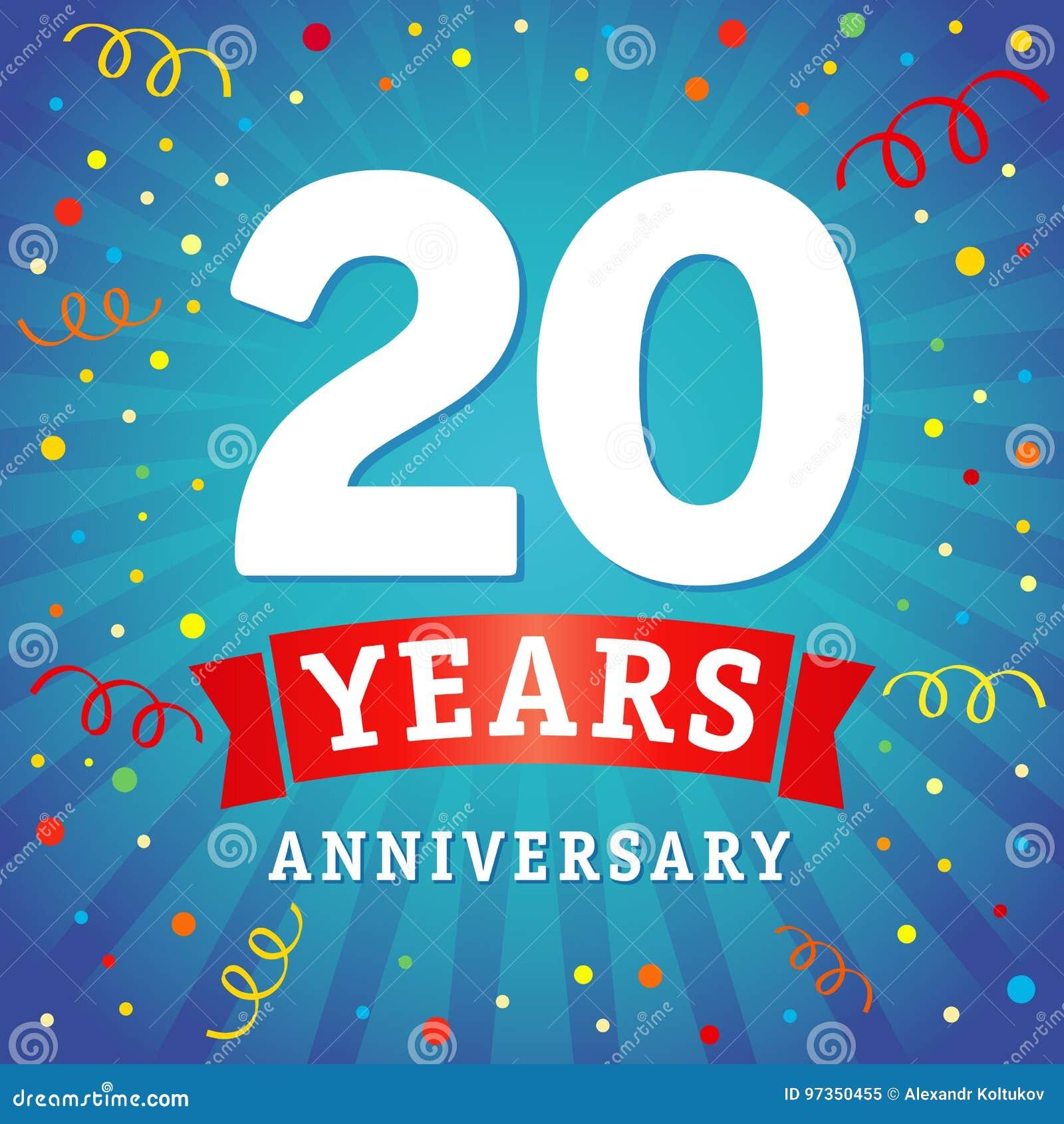 20 Ans Danniversaire De Logo De Carte De Célébration Illustration