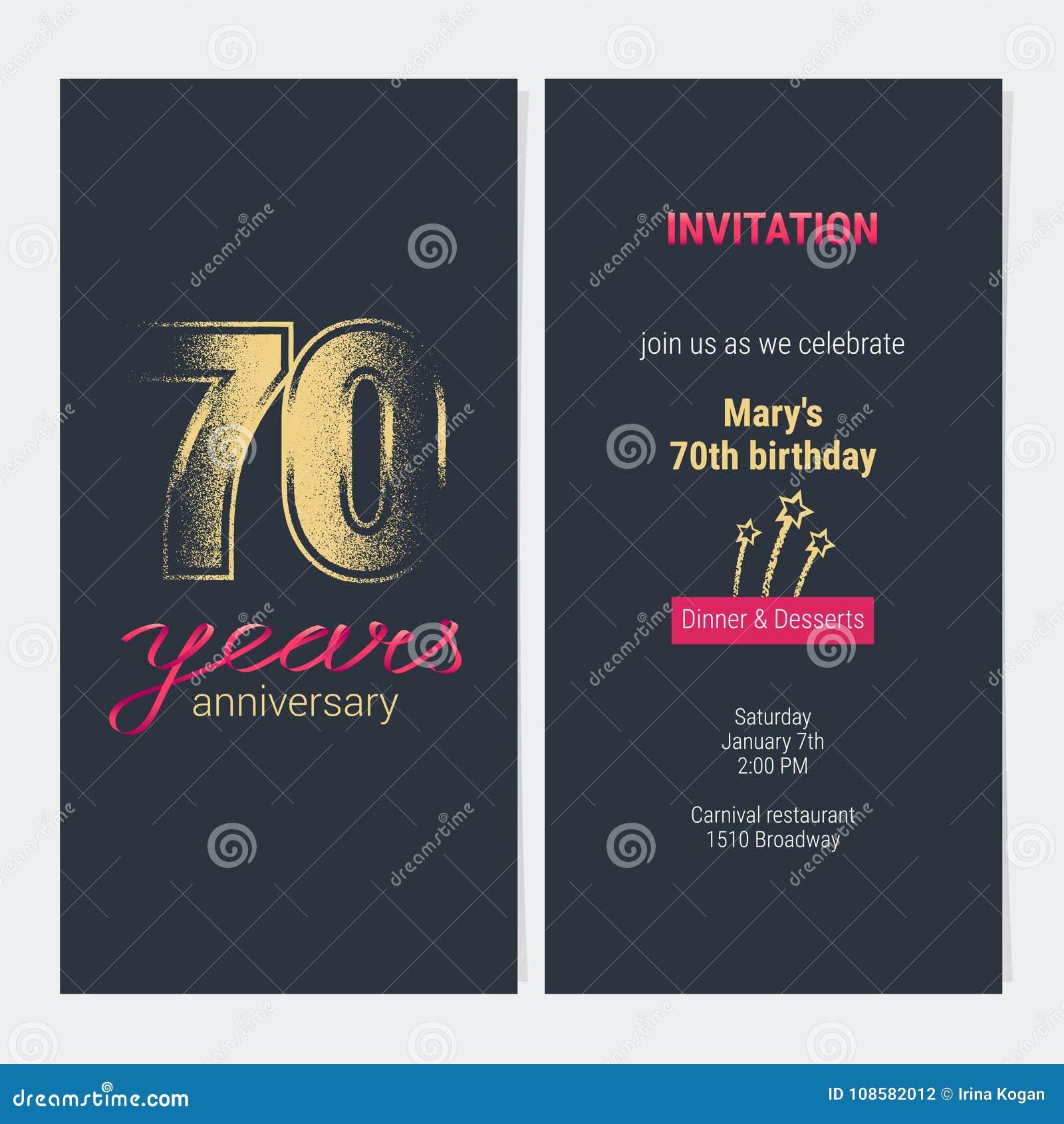 70 Ans D Anniversaire D Invitation De Carte De Vecteur Illustration