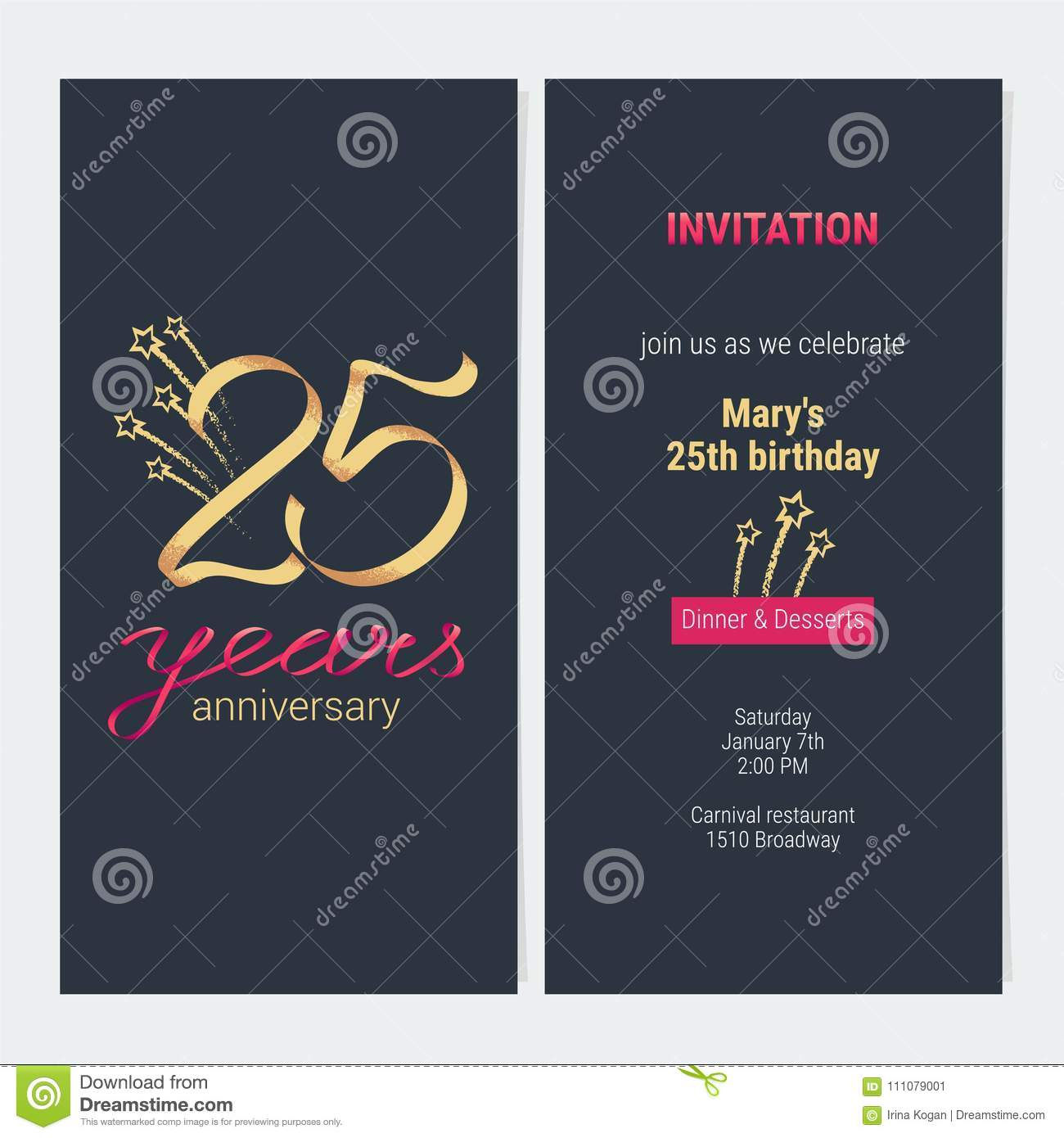 25 Ans D Anniversaire D Invitation De Vecteur De Carte Illustration