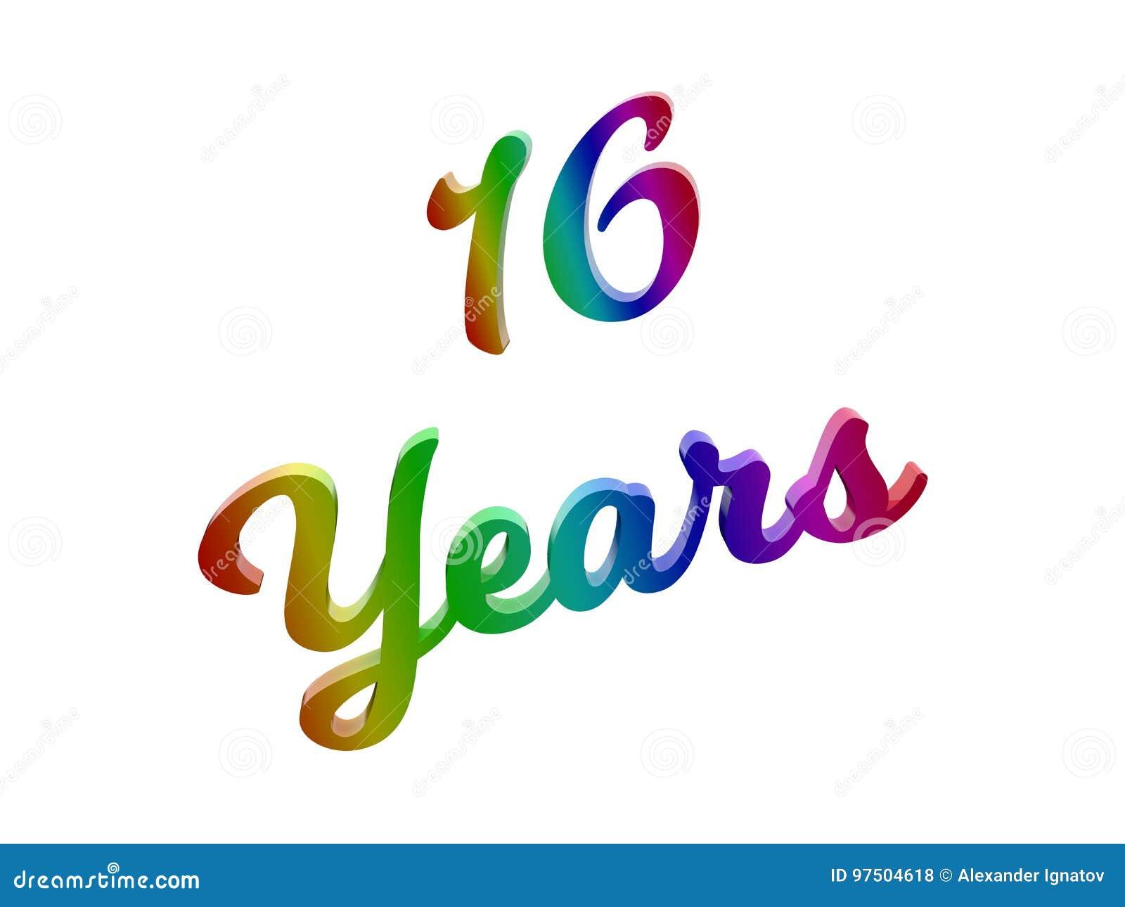 16 Ans D Anniversaire Les Vacances 3d Calligraphique Ont Rendu L