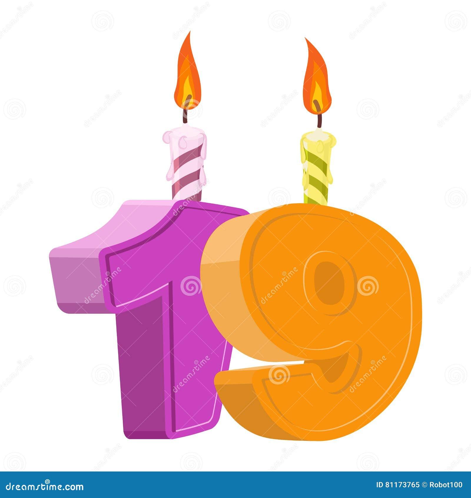 19 ans d anniversaire Nombre avec la bougie de fête pour le gâteau de vacances