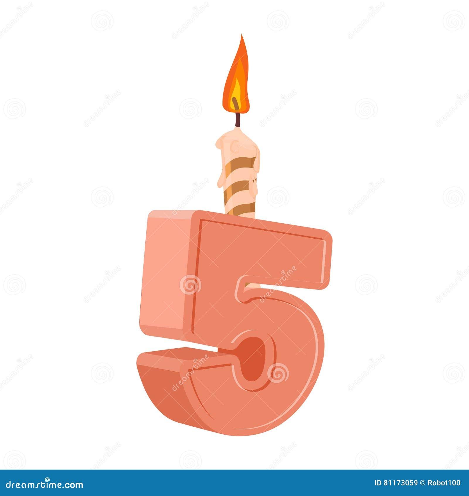 5 ans d 39 anniversaire nombre avec la bougie de f te pour le g teau de vacances f illustration de - Gateau anniversaire 5 ans ...