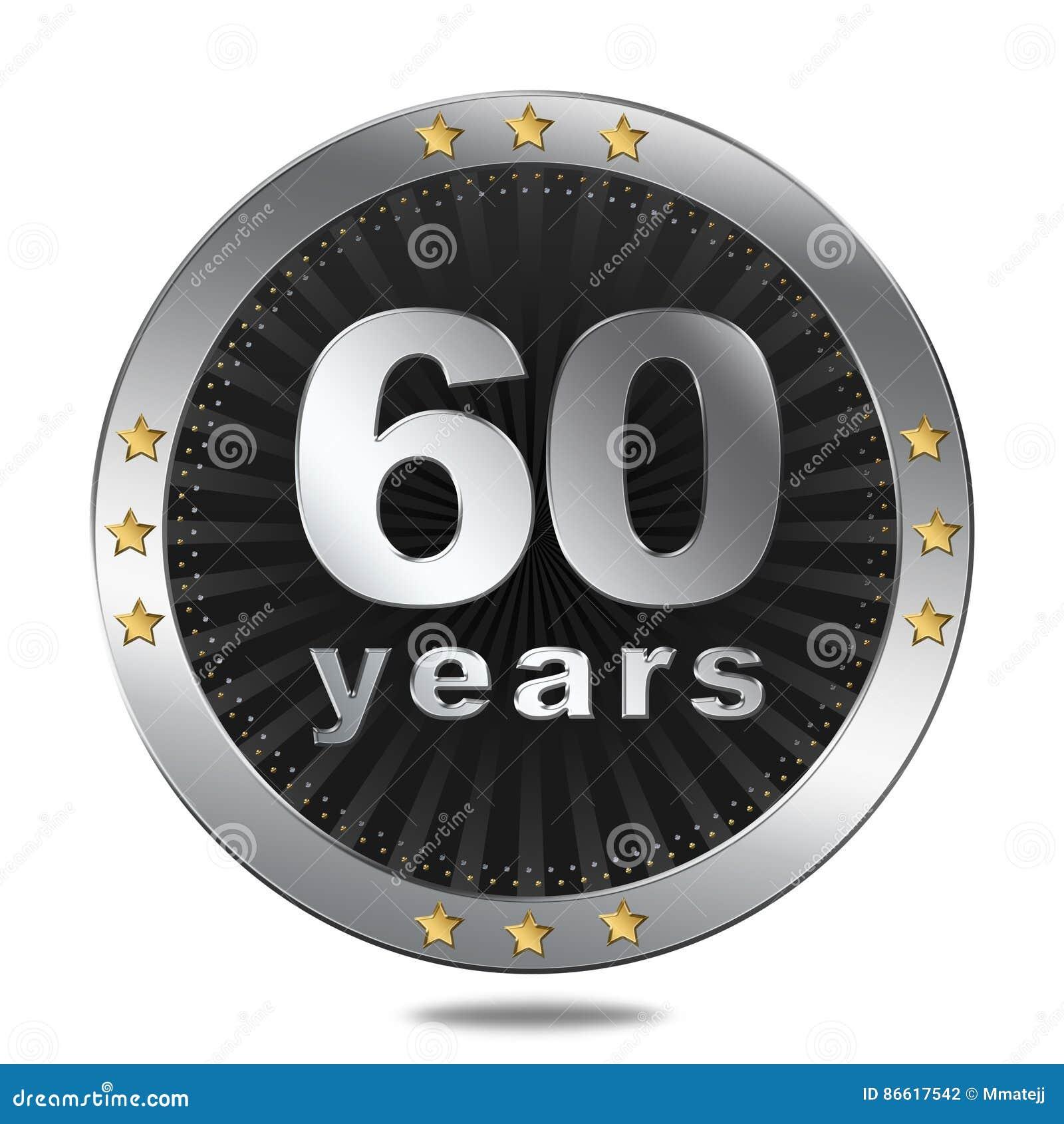 60 ans d insigne d anniversaire - couleur argentée