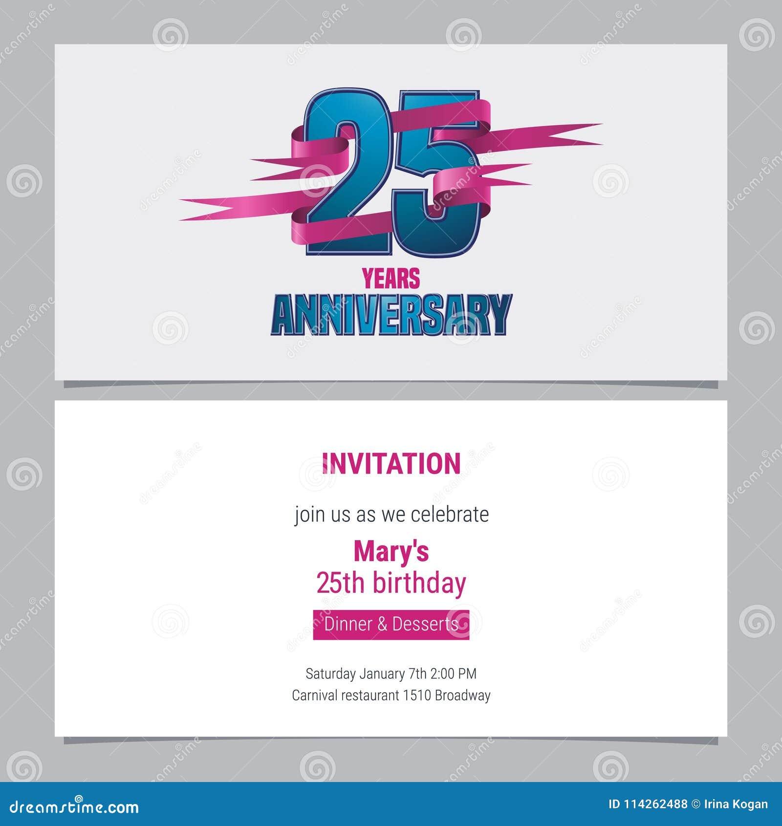 25 Ans D Invitation D Anniversaire A L Illustration De Vecteur De
