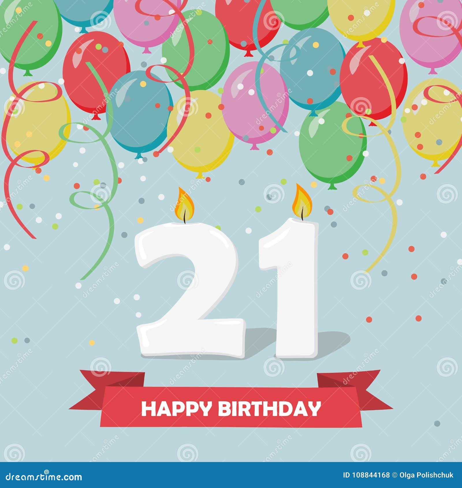 21 Ans De Celebration Carte De Voeux De Joyeux Anniversaire