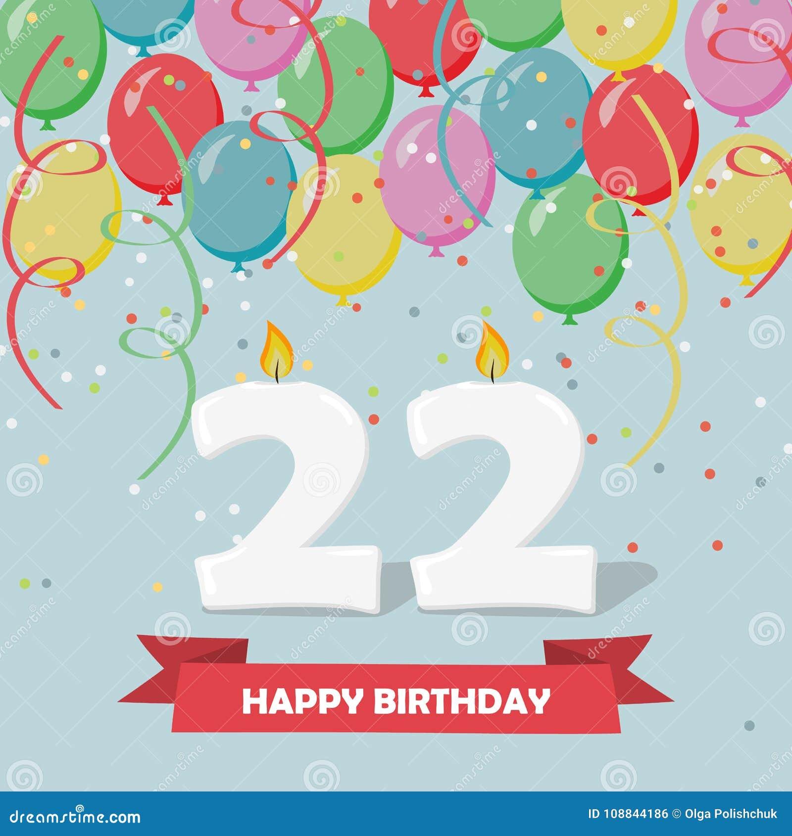 22 Ans De Célébration Carte De Voeux De Joyeux Anniversaire