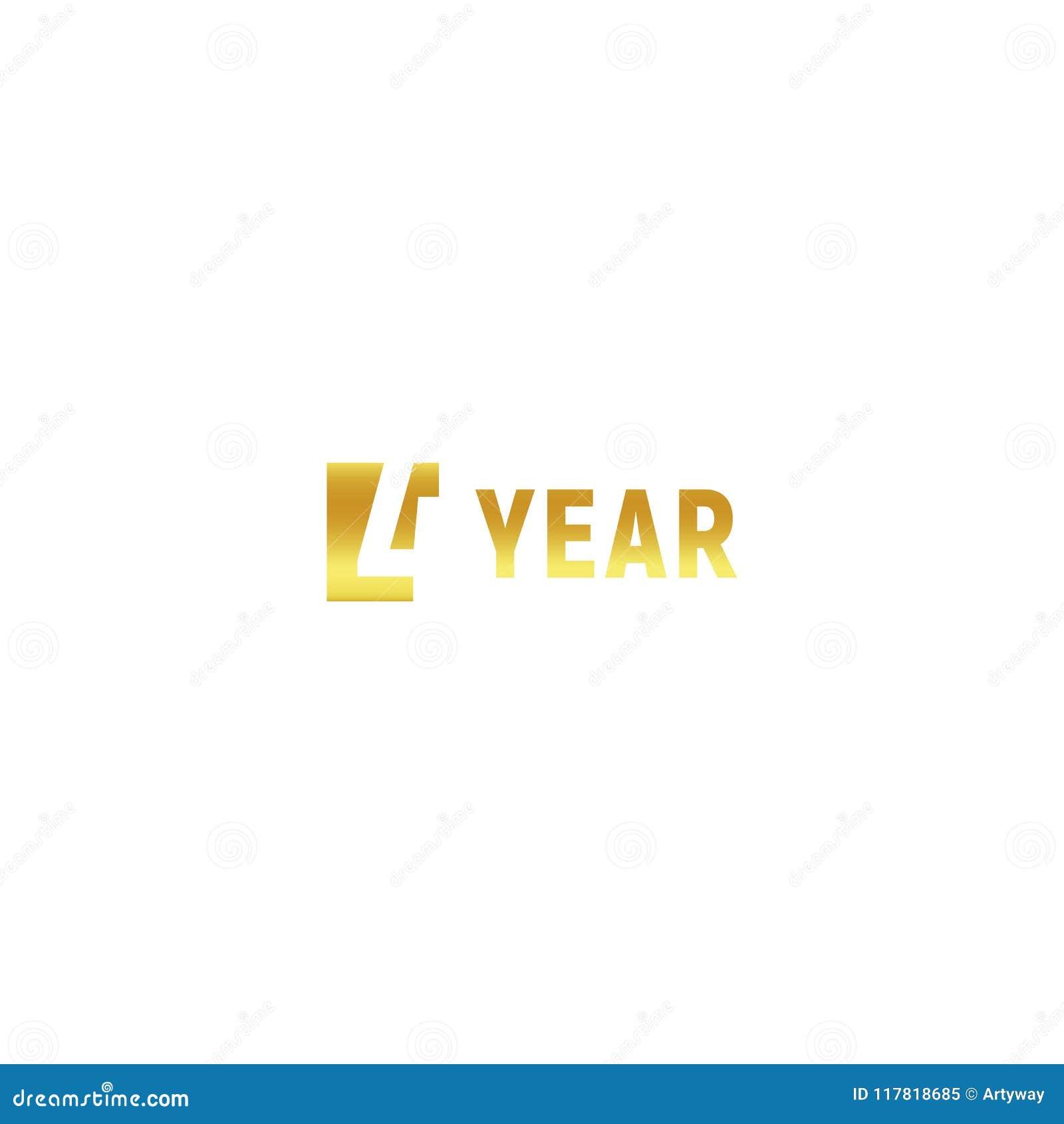 4 Ans Logo D Or De Joyeux Anniversaire Sur Le Fond Blanc Signe