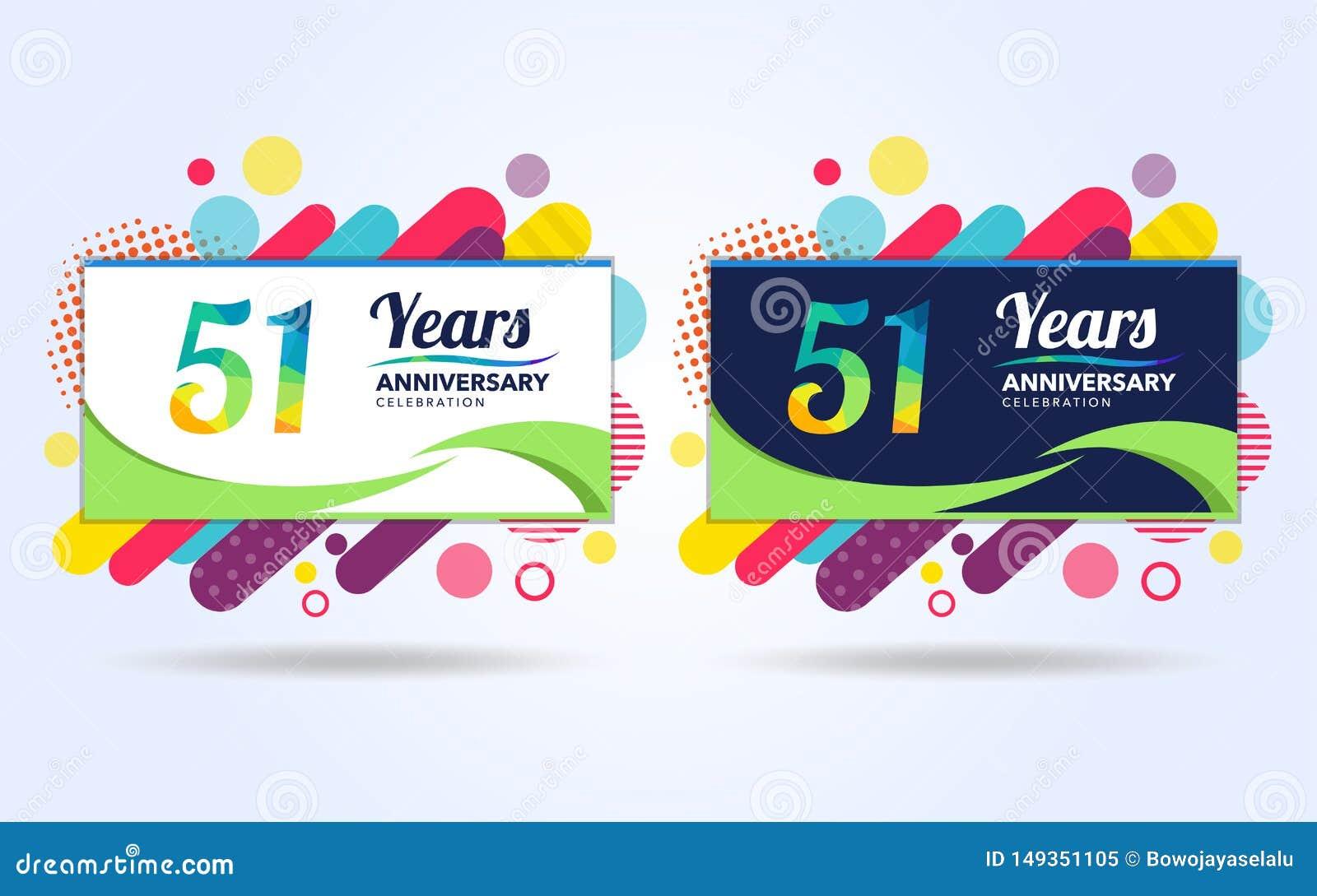 51 ans sautent des ?l?ments de conception moderne d anniversaire, ?dition color?e, conception de calibre de c?l?bration, concepti