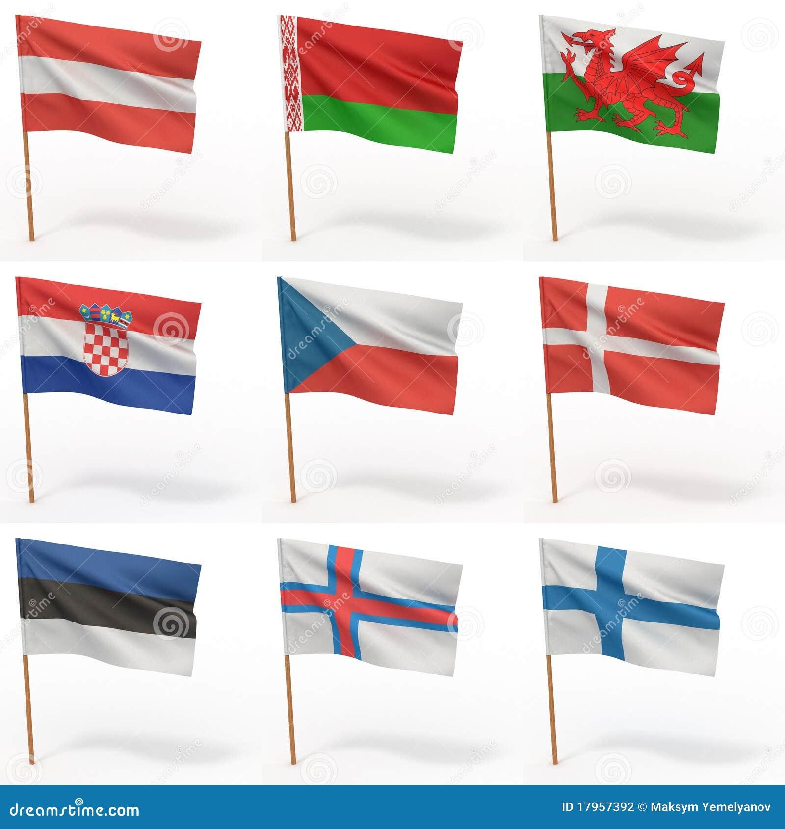 Ansammlung europäische Markierungsfahnen