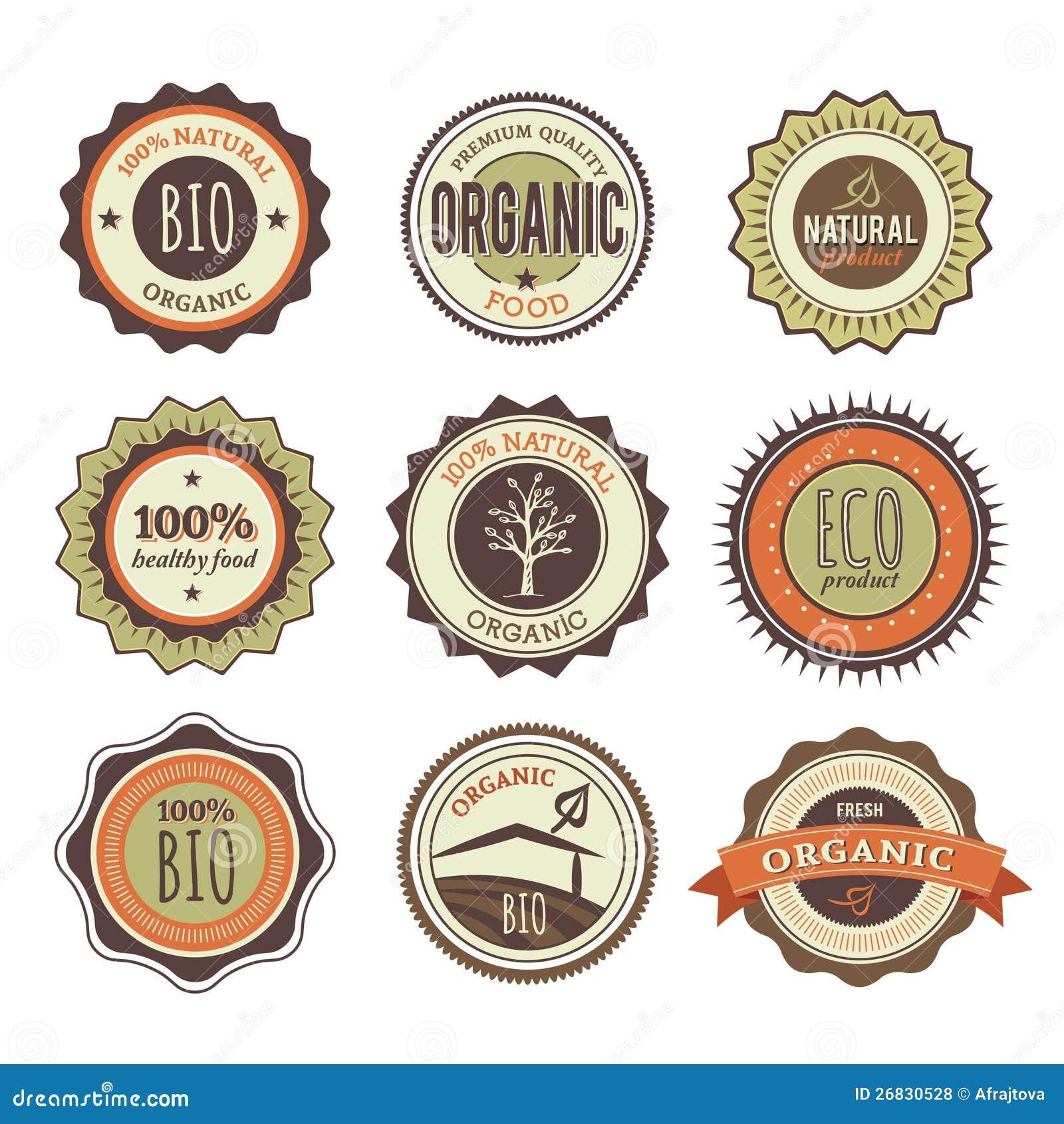 Ansammlung organische Weinlese-Abzeichen