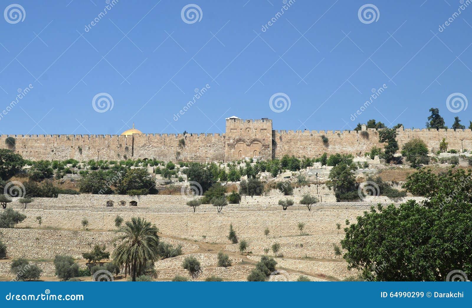 Anscient väggar av Jerusalem, Israel