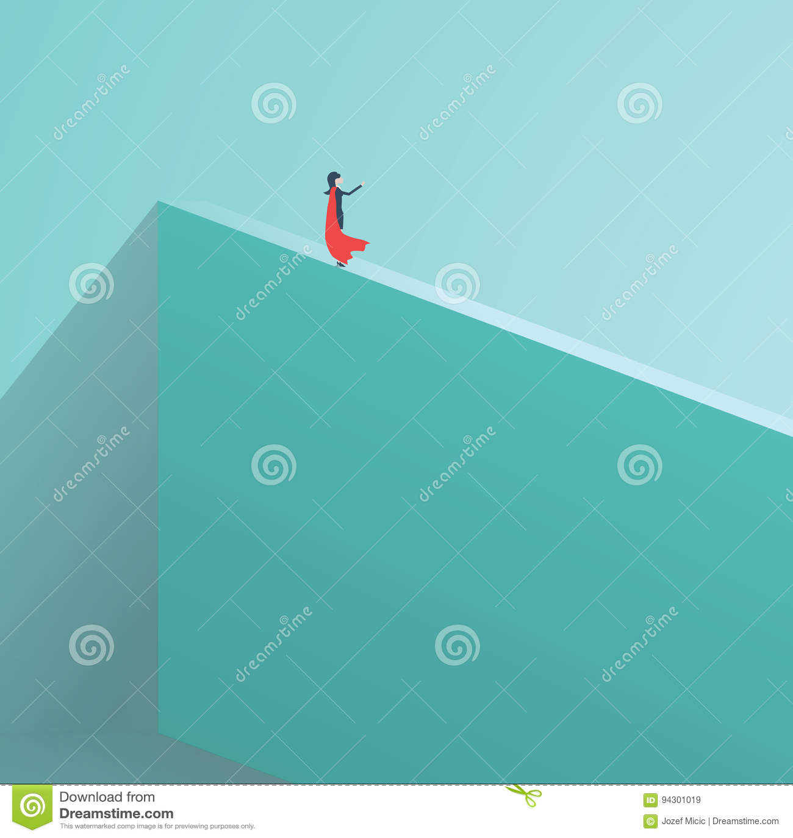 Anseende för affärssuperheroaffärskvinna på den höga väggen Symbol av affärskurage, glans som är oförskräckt, makt Symbol av