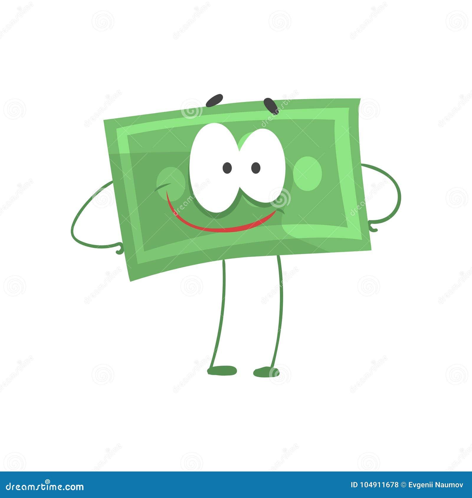 Anseende för tecknad filmpengartecken med armar som är akimbo och ler framsidan Självsäker grön dollar i plan stil finansiellt